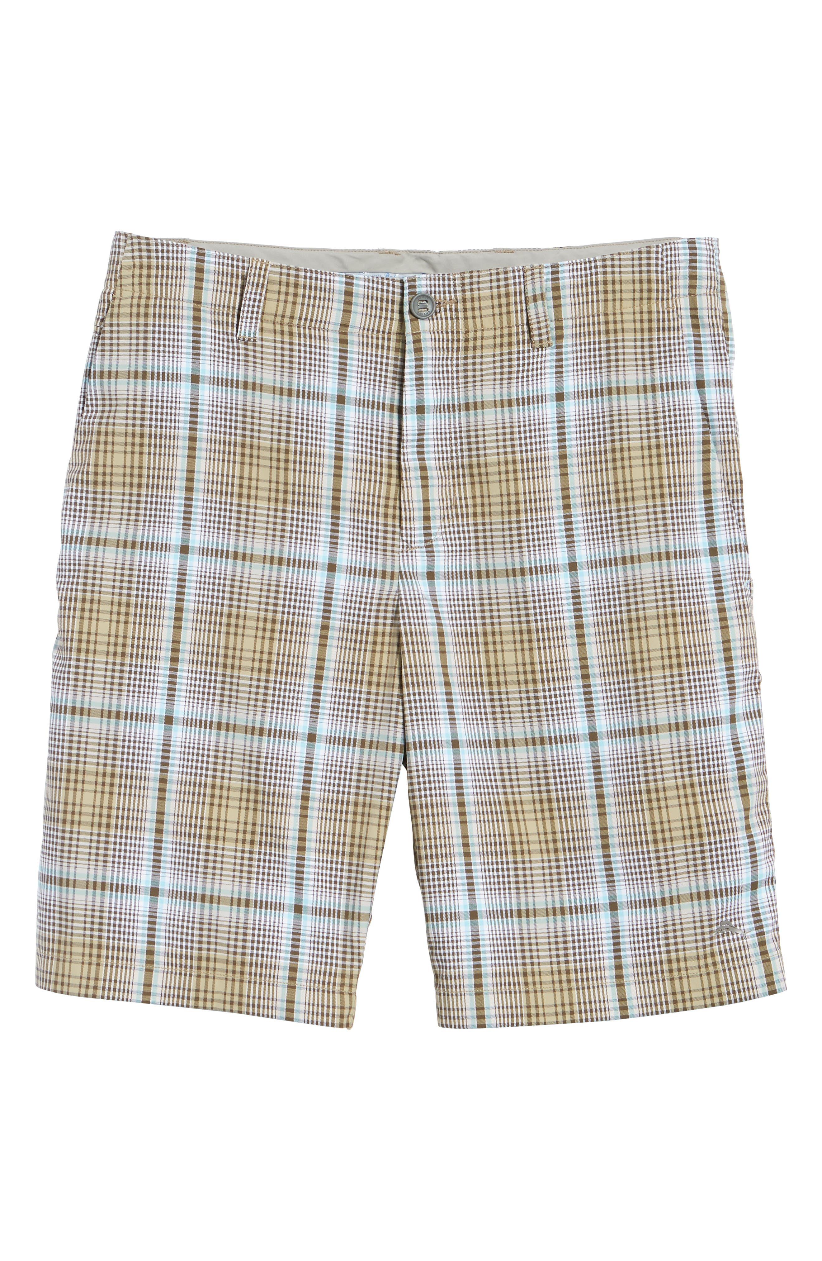 Playa Tech Classic Fit Plaid Shorts,                             Alternate thumbnail 6, color,                             Khaki Sands