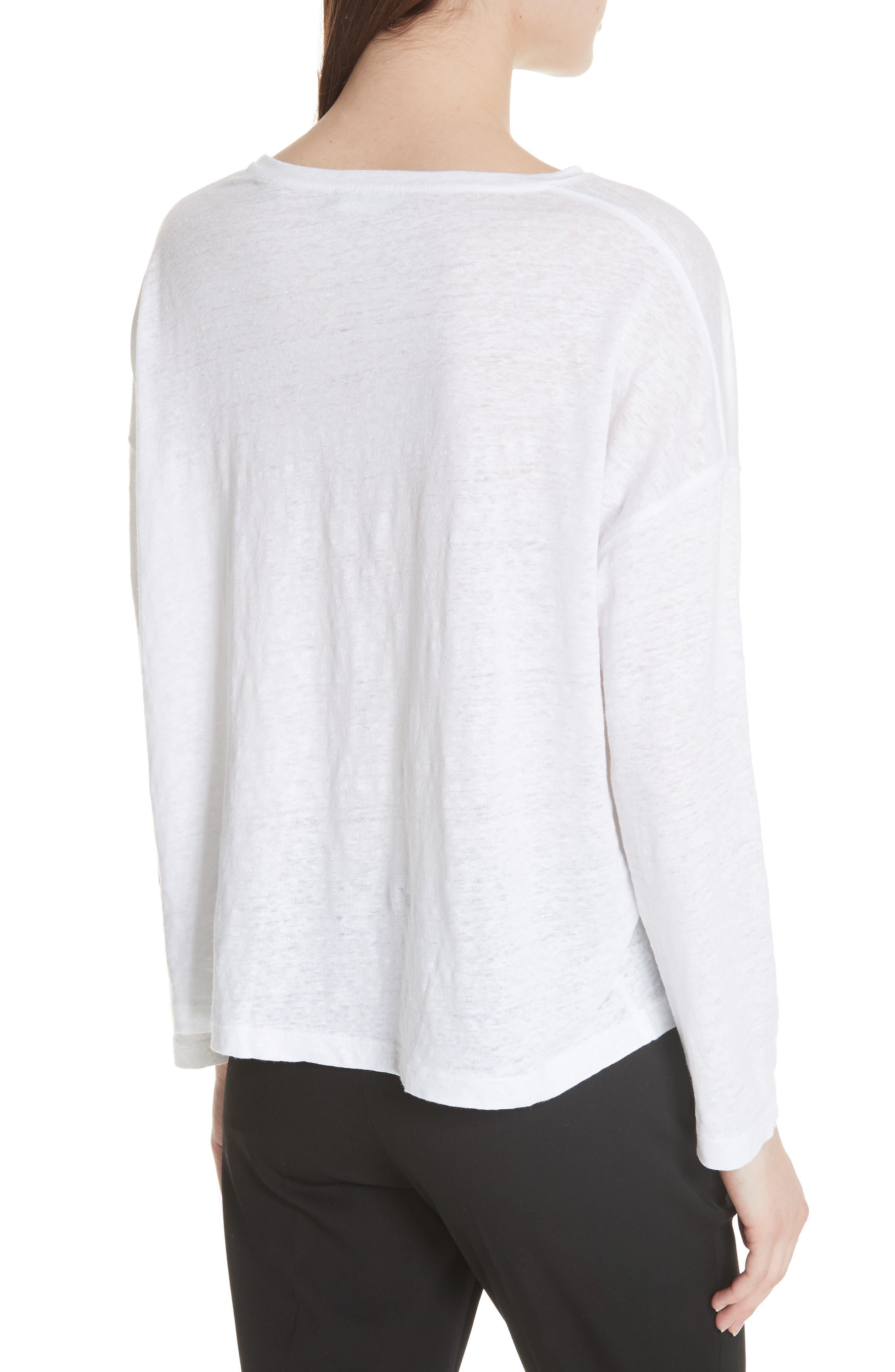 Shrunken Linen Long Sleeve Top,                             Alternate thumbnail 2, color,                             Optic White