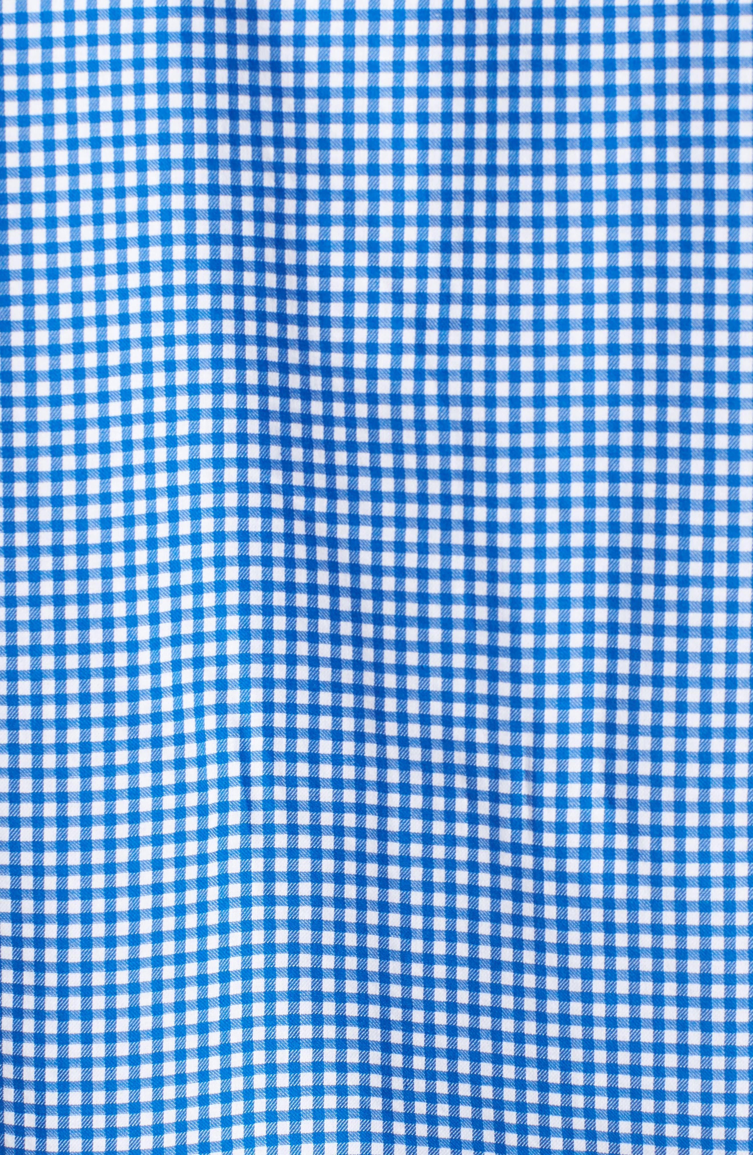 Abel Regular Fit Mini Check Sport Shirt,                             Alternate thumbnail 5, color,                             Royal
