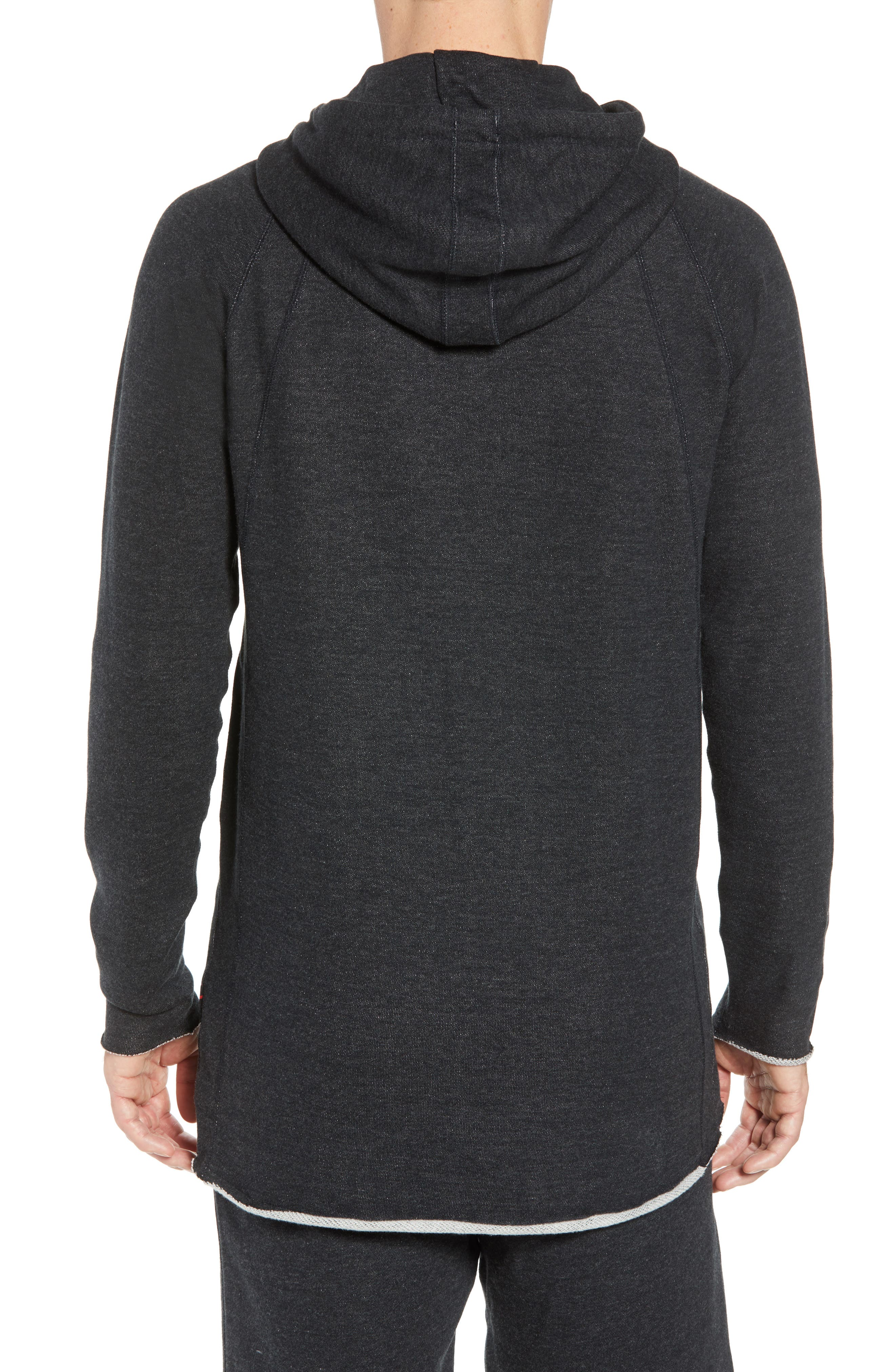 Wings Light French Terry Hoodie,                             Alternate thumbnail 2, color,                             Black Heather/ Black