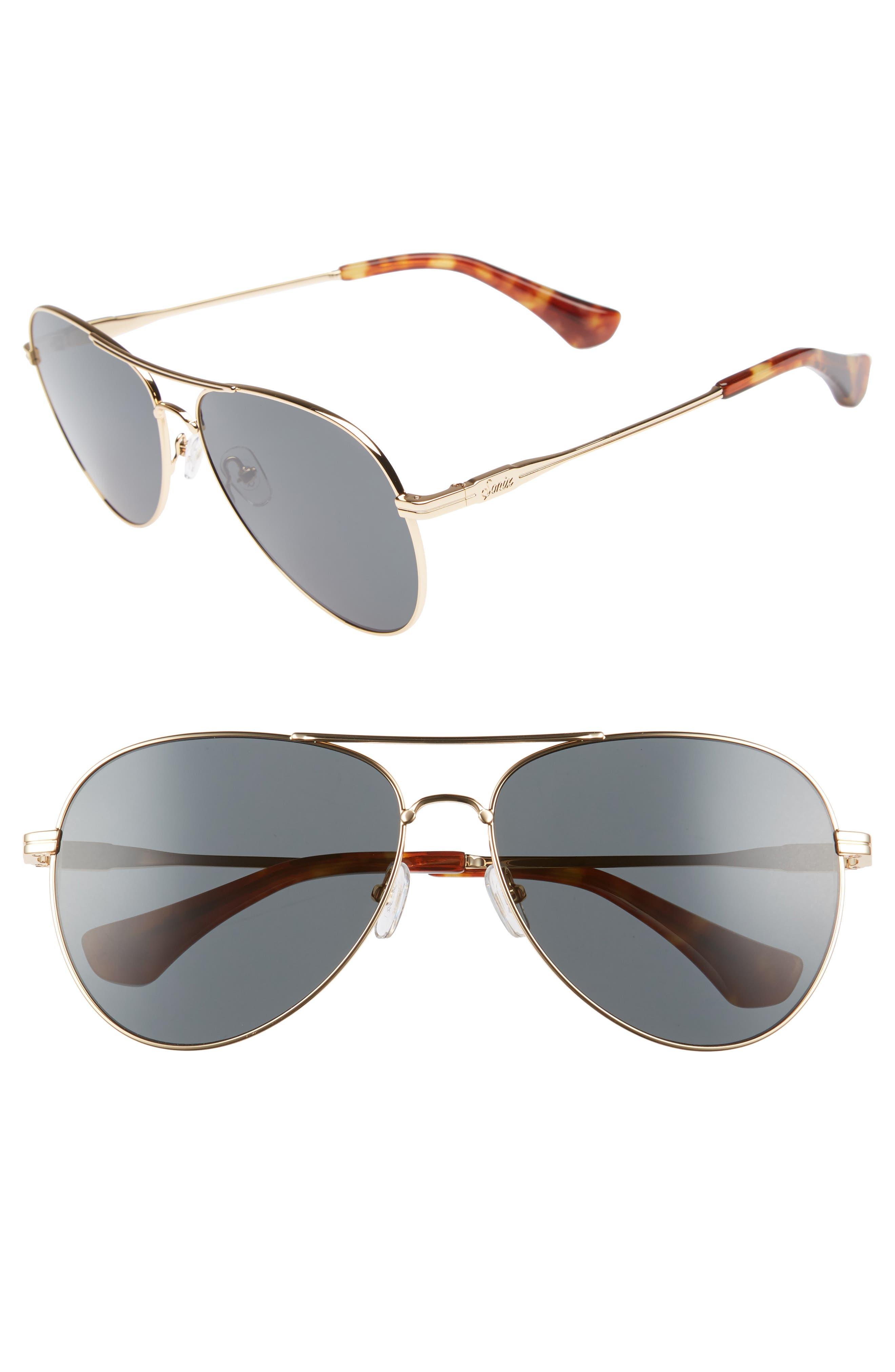 Lodi 61mm Mirrored Aviator Sunglasses,                         Main,                         color, Gold Wire/ Black Solid