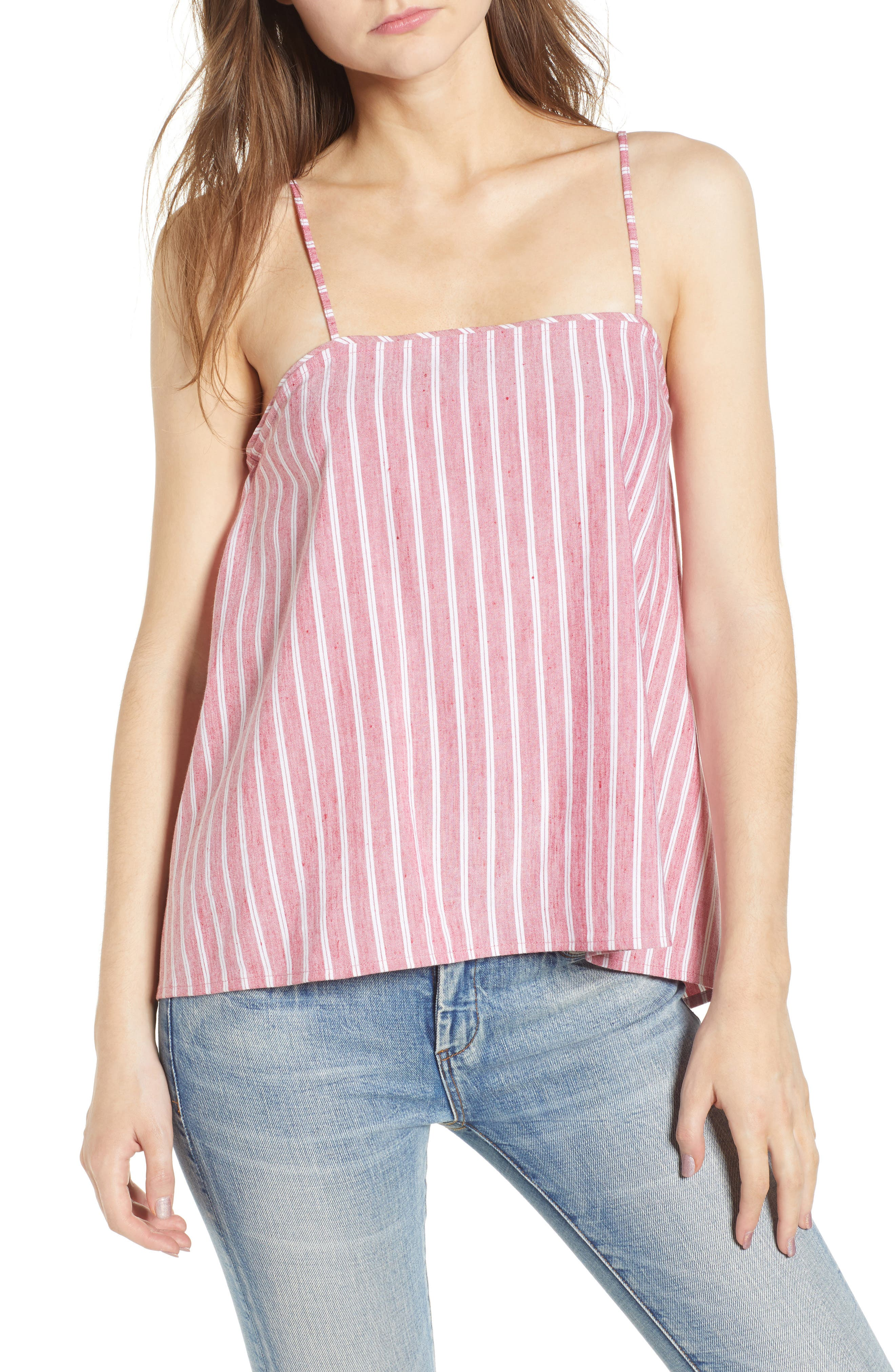 Button Back Camisole,                             Main thumbnail 1, color,                             Red Lipstick Ashley Stripe