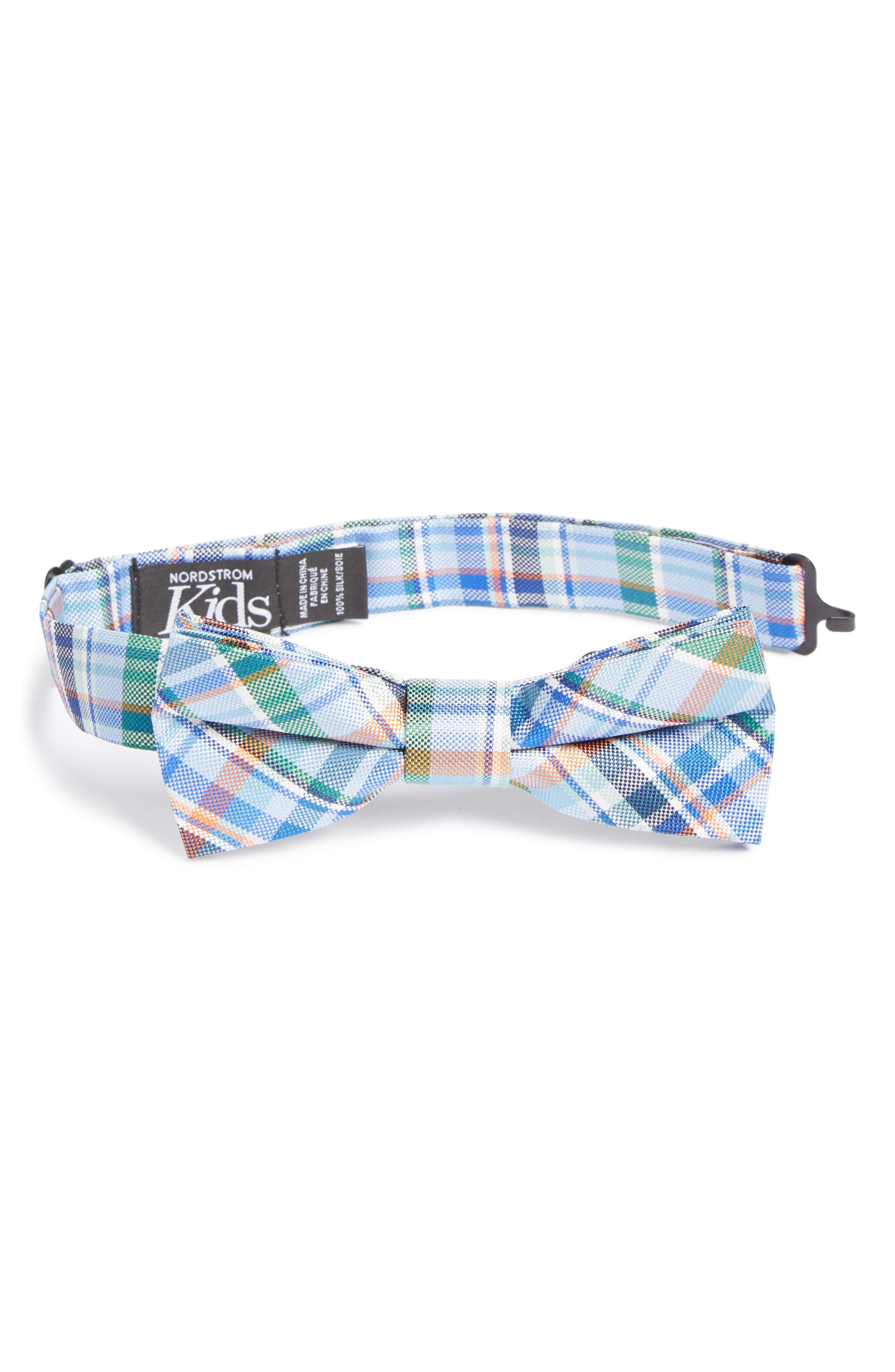 Campbell Plaid Silk Bow Tie,                             Main thumbnail 1, color,                             Navy