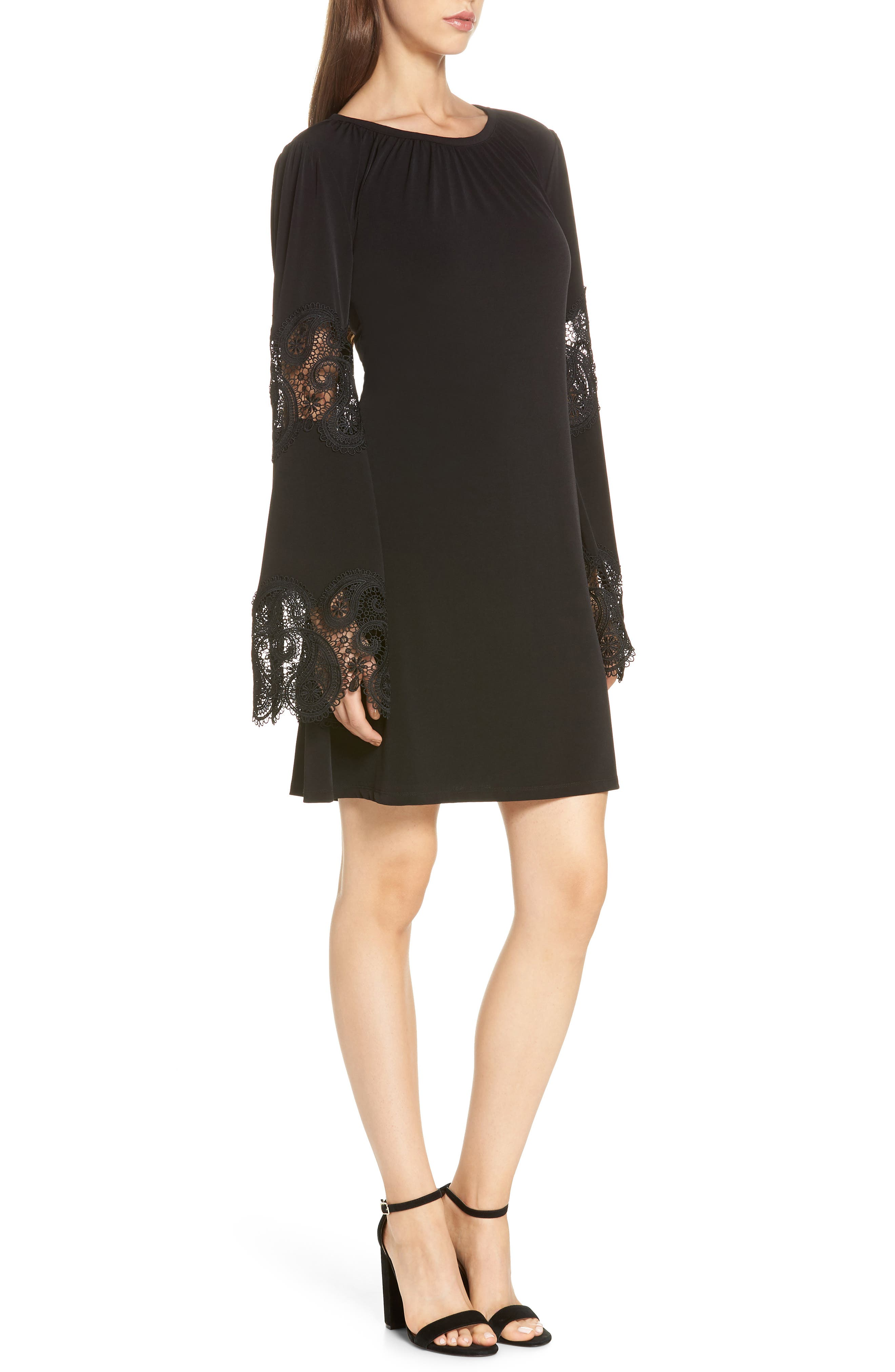 Lace Inset Bell Sleeve Shift Dress,                             Alternate thumbnail 3, color,                             Black
