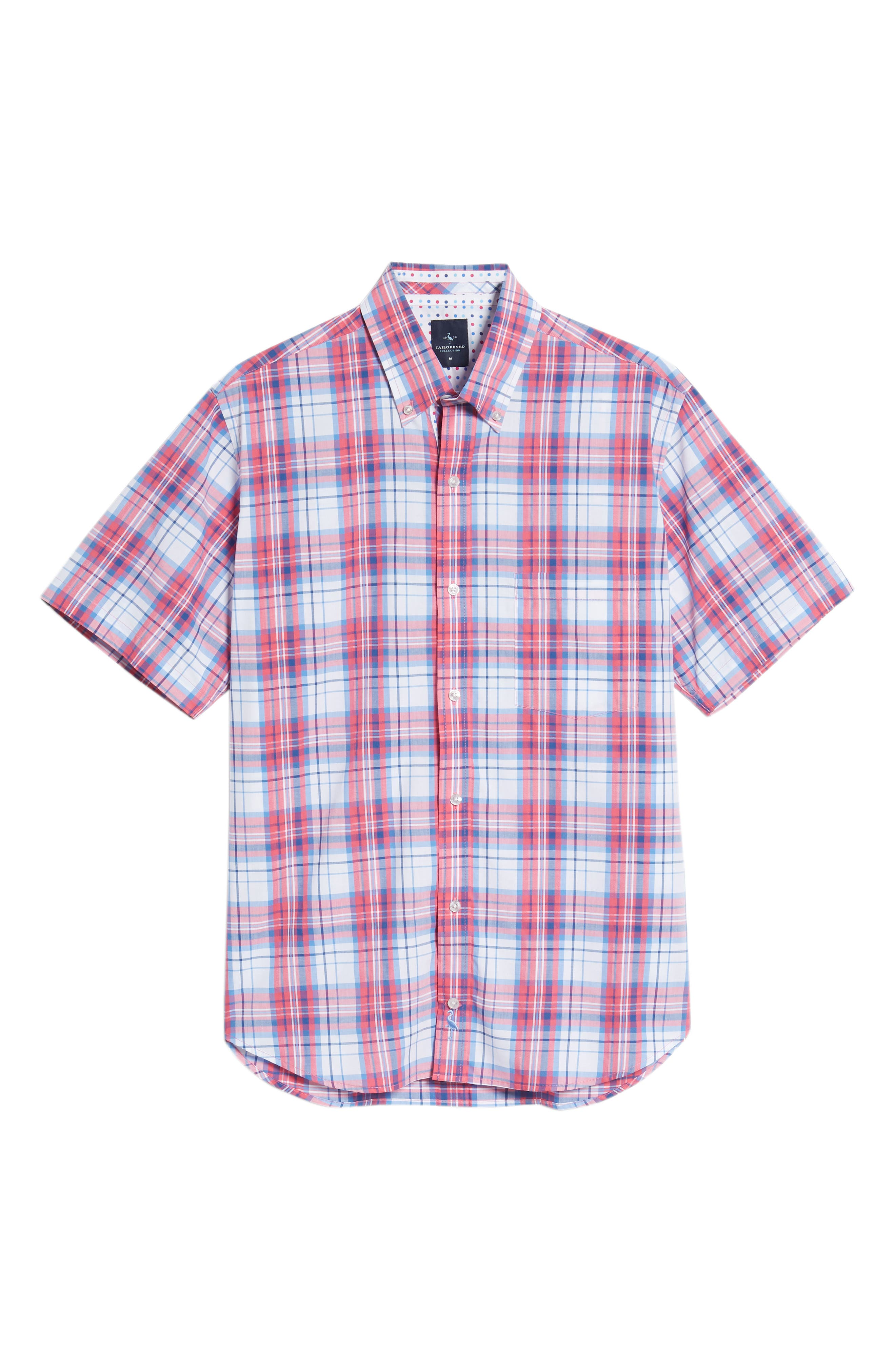 Alesso Regular Fit Plaid Sport Shirt,                             Alternate thumbnail 6, color,                             Coral