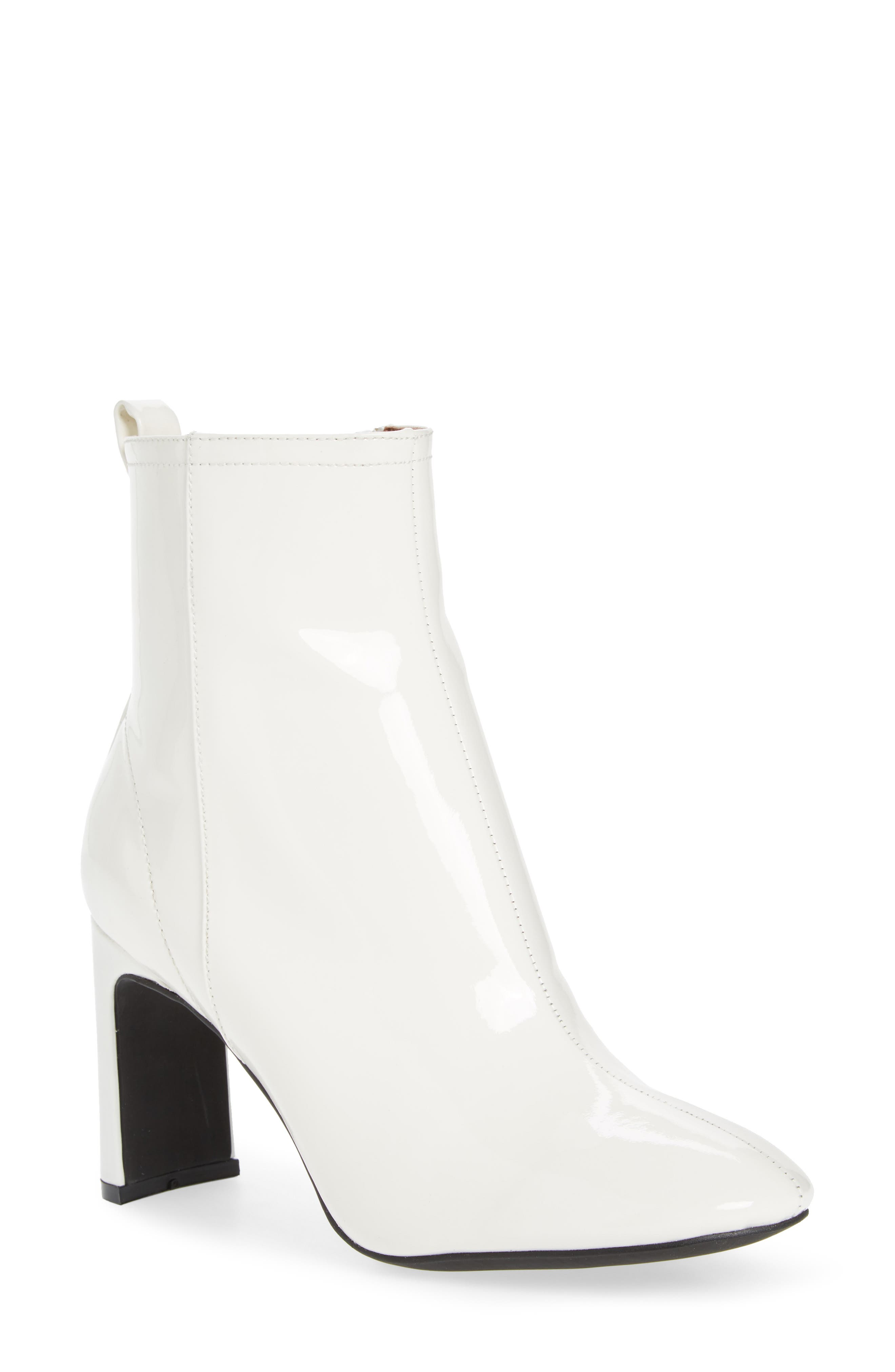 Chapel Curved Heel Bootie,                             Main thumbnail 1, color,                             White Patent Leather