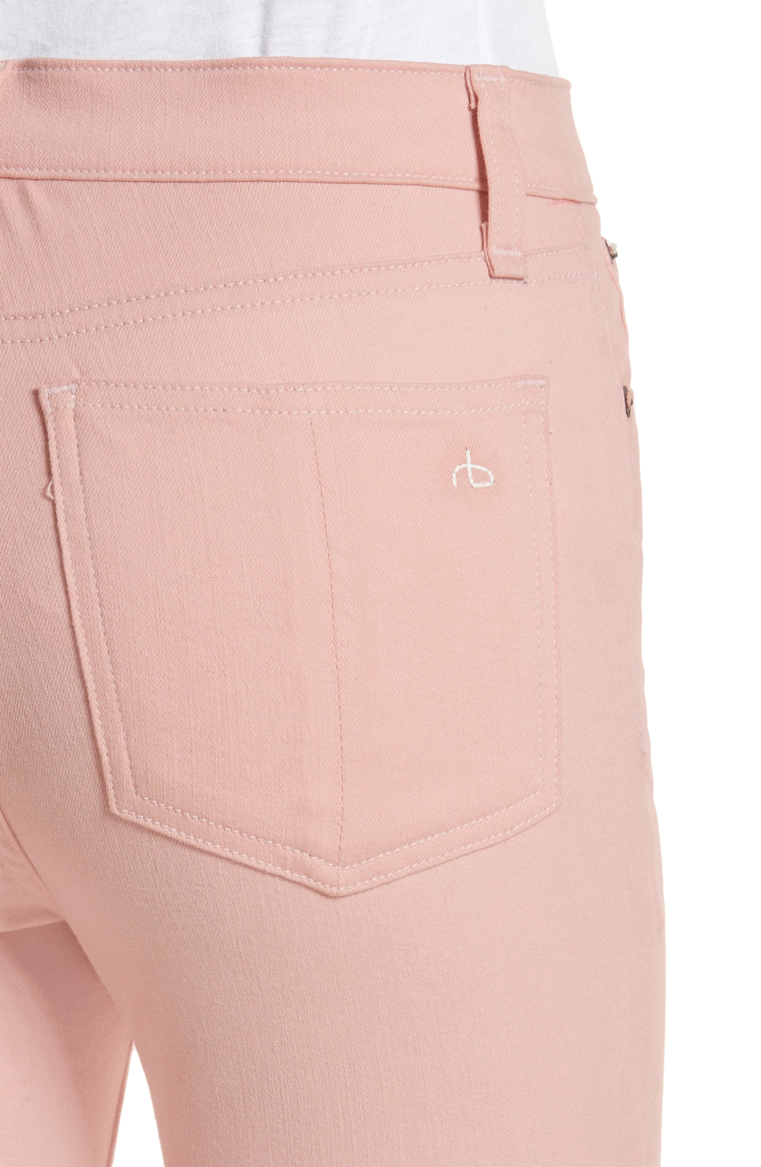High Waist Skinny Jeans,                             Alternate thumbnail 4, color,                             Blush Twill