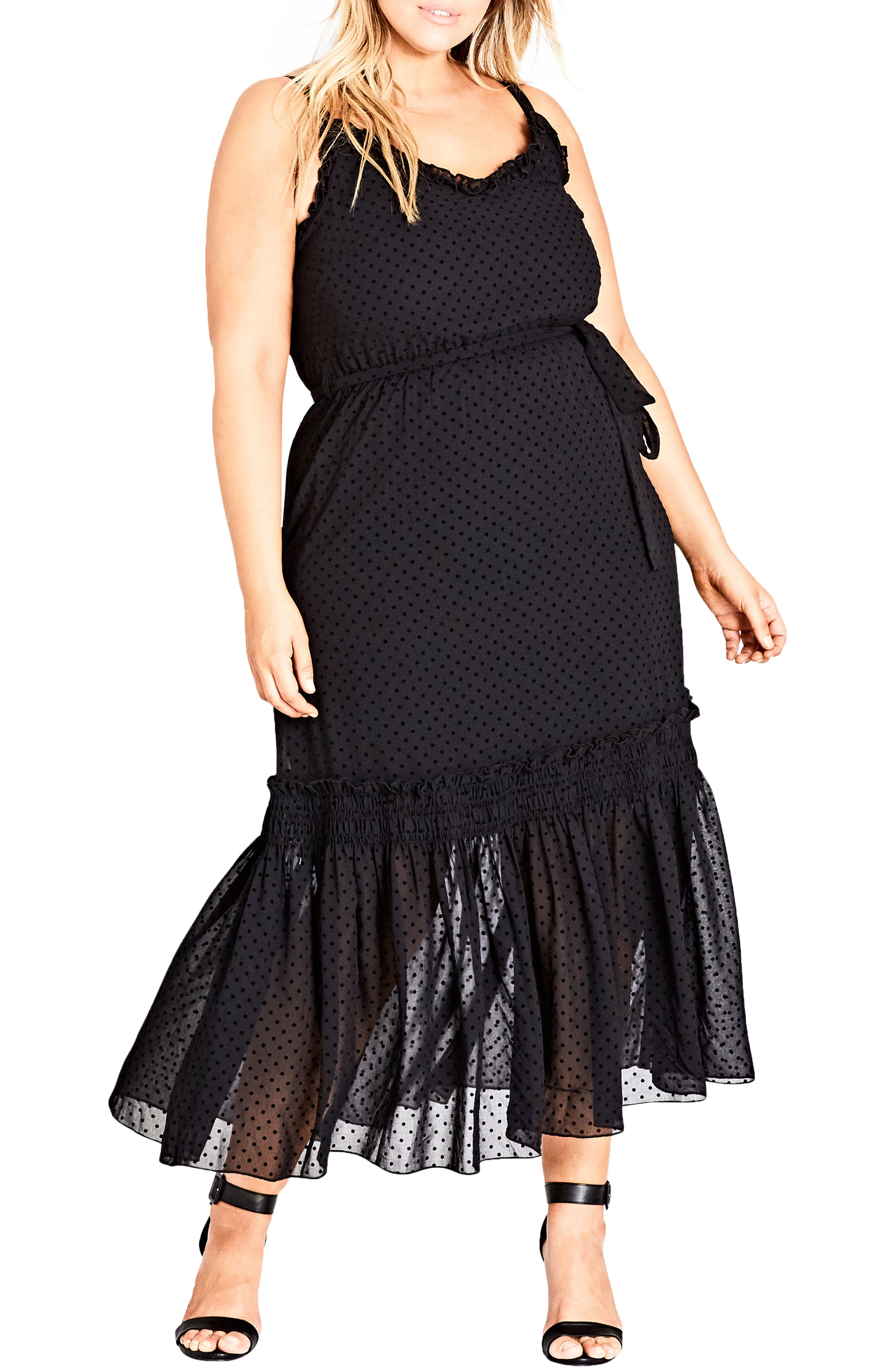 Flocked Spot Maxi Dress,                             Main thumbnail 1, color,                             Black Spot
