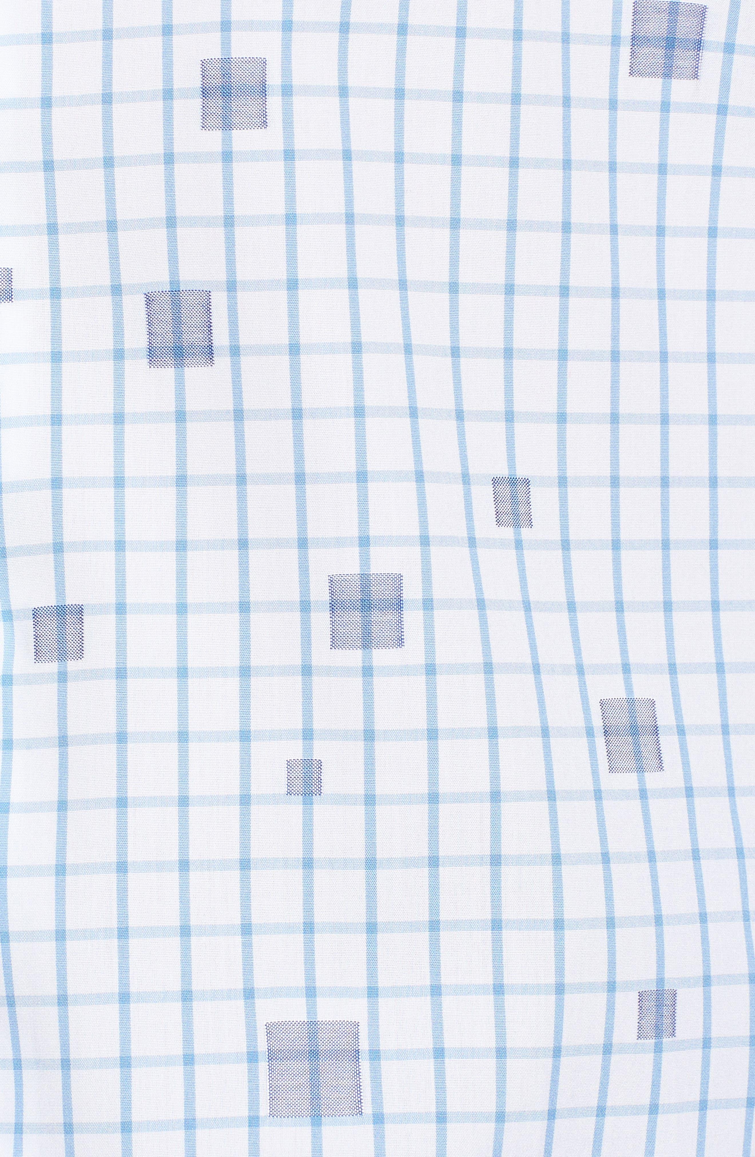 Classic Fit Square Check Sport Shirt,                             Alternate thumbnail 5, color,                             Classic Blue