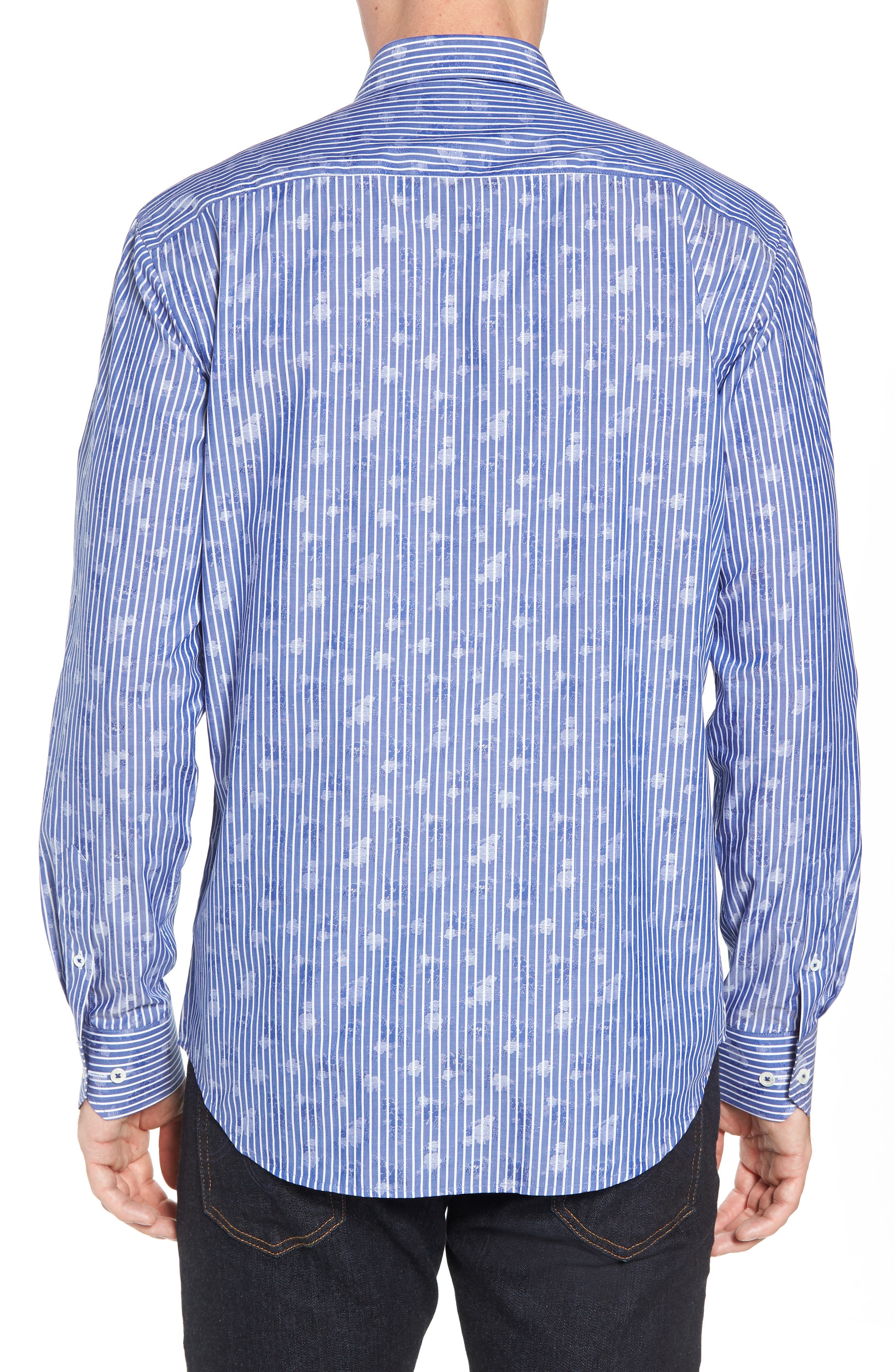 Shaped Fit Layered Print Sport Shirt,                             Alternate thumbnail 3, color,                             Navy