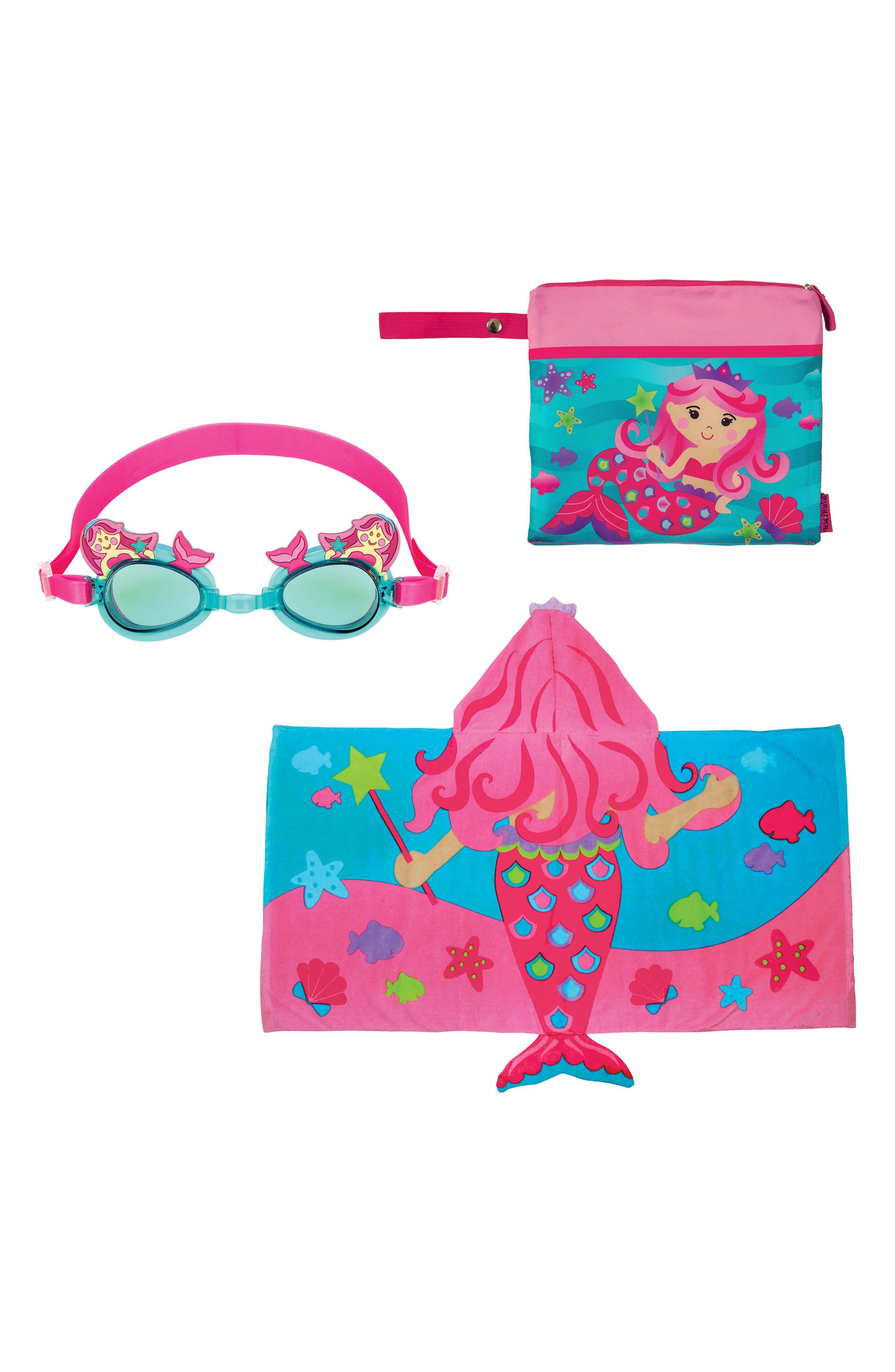 Bag, Hooded Towel & Goggles,                         Main,                         color, Pink Mermaid