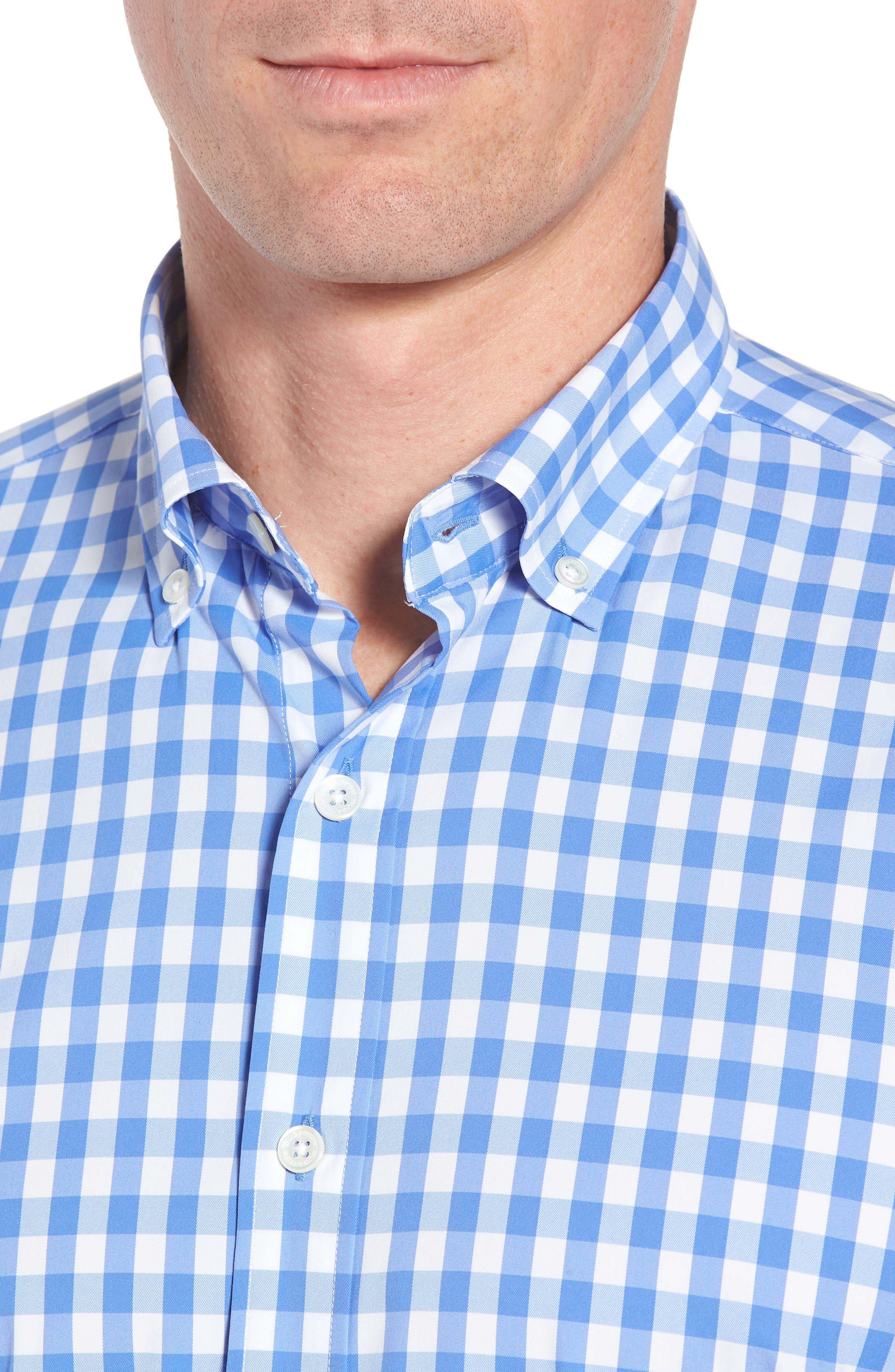 Shaped Fit Gingham Sport Shirt,                             Alternate thumbnail 2, color,                             Classic Blue