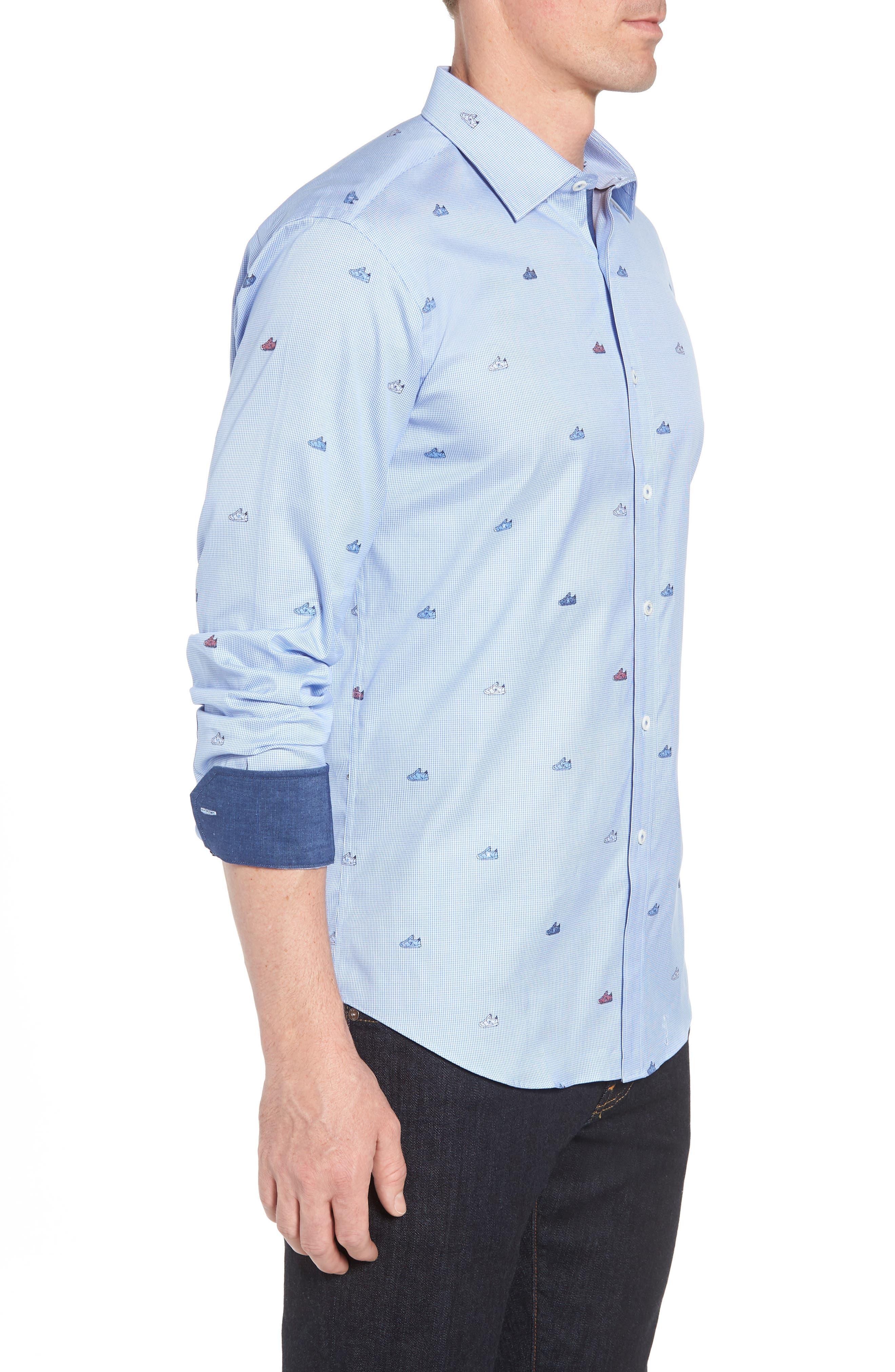 Shaped Fit Sneaker Jacquard Sport Shirt,                             Alternate thumbnail 4, color,                             Classic Blue