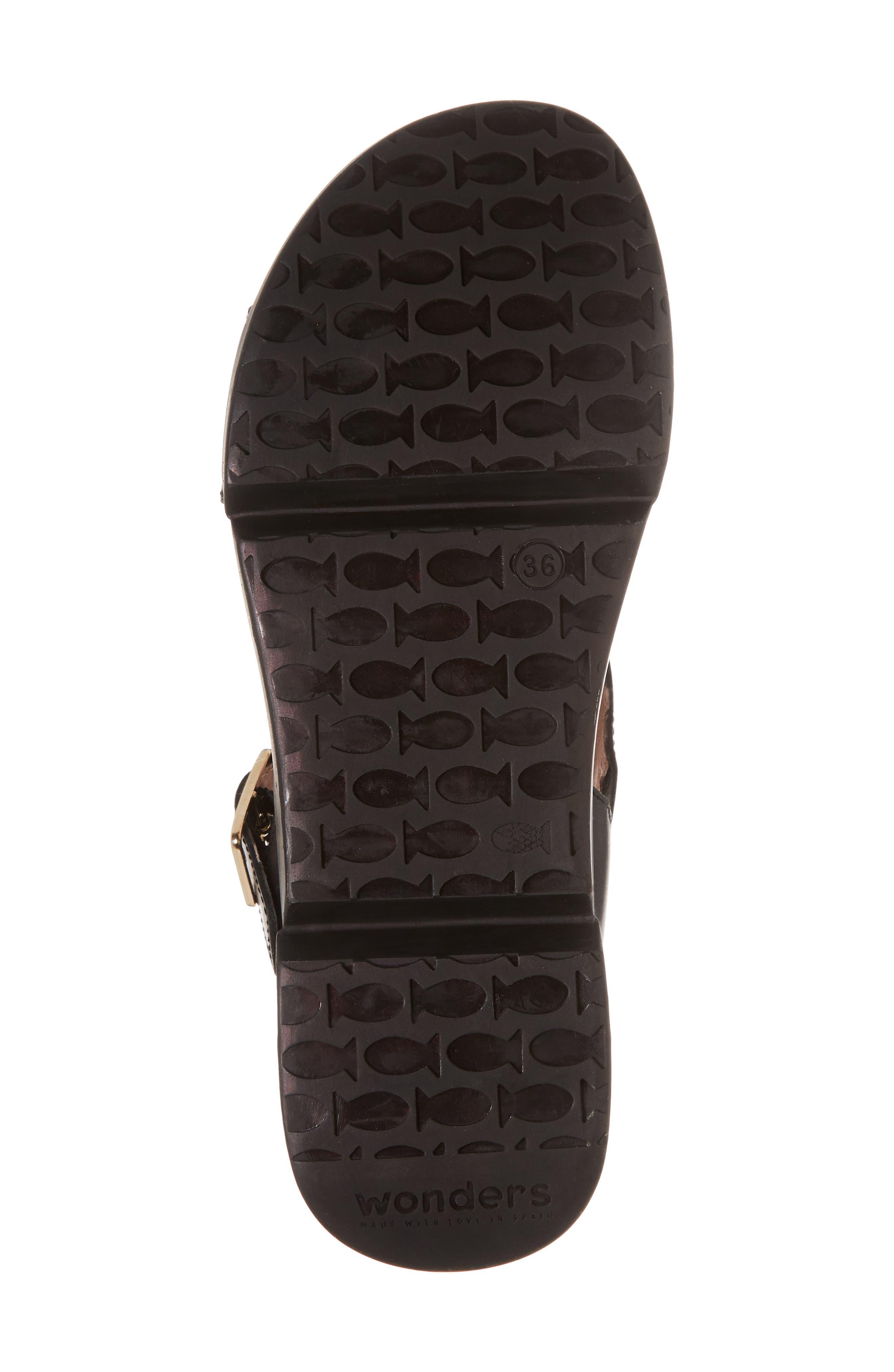 Platform Wedge Sandal,                             Alternate thumbnail 6, color,                             Black Leather