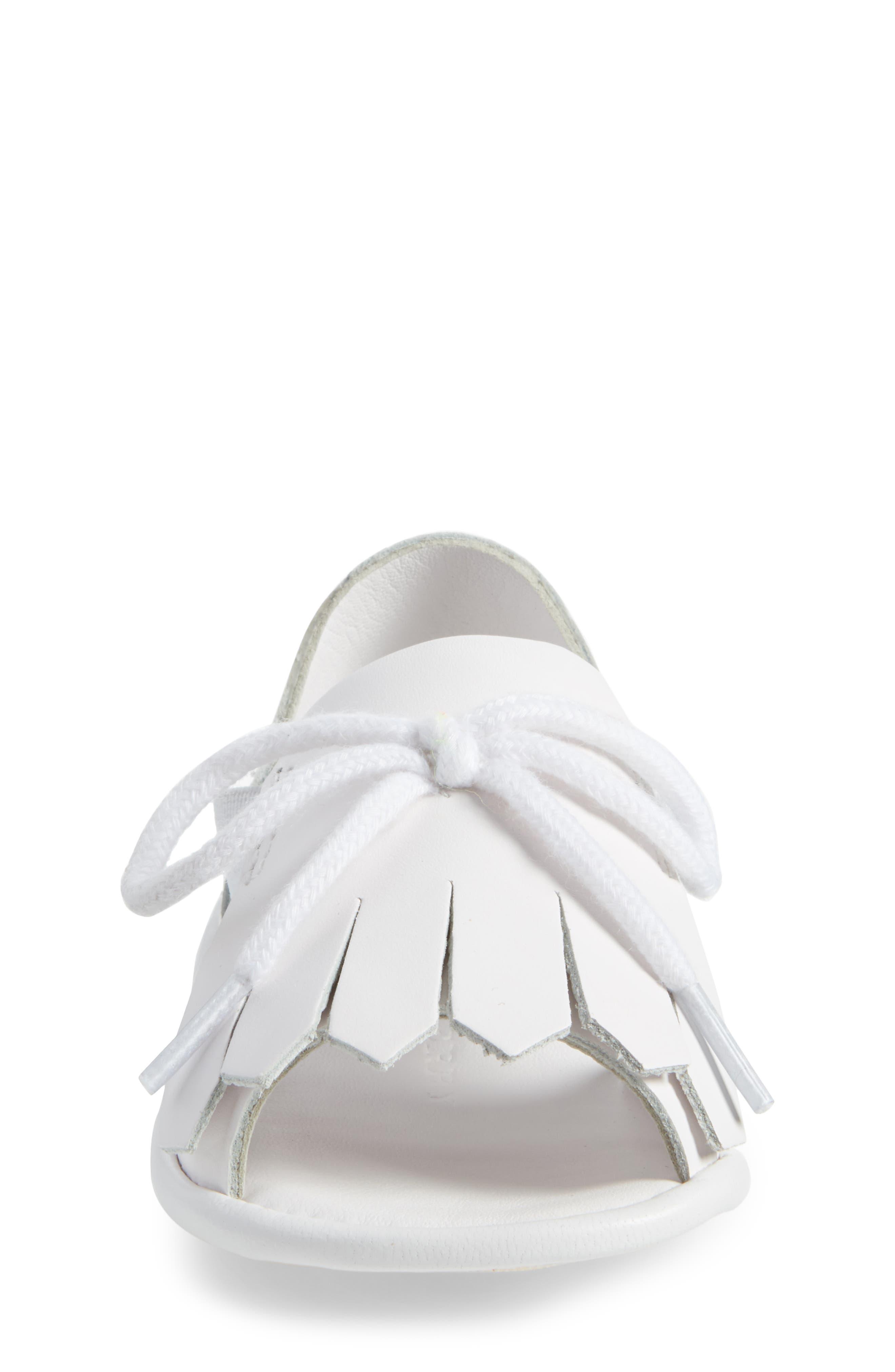 New Dawny Kiltie Fringe Crib Sandal,                             Alternate thumbnail 4, color,                             Optic White