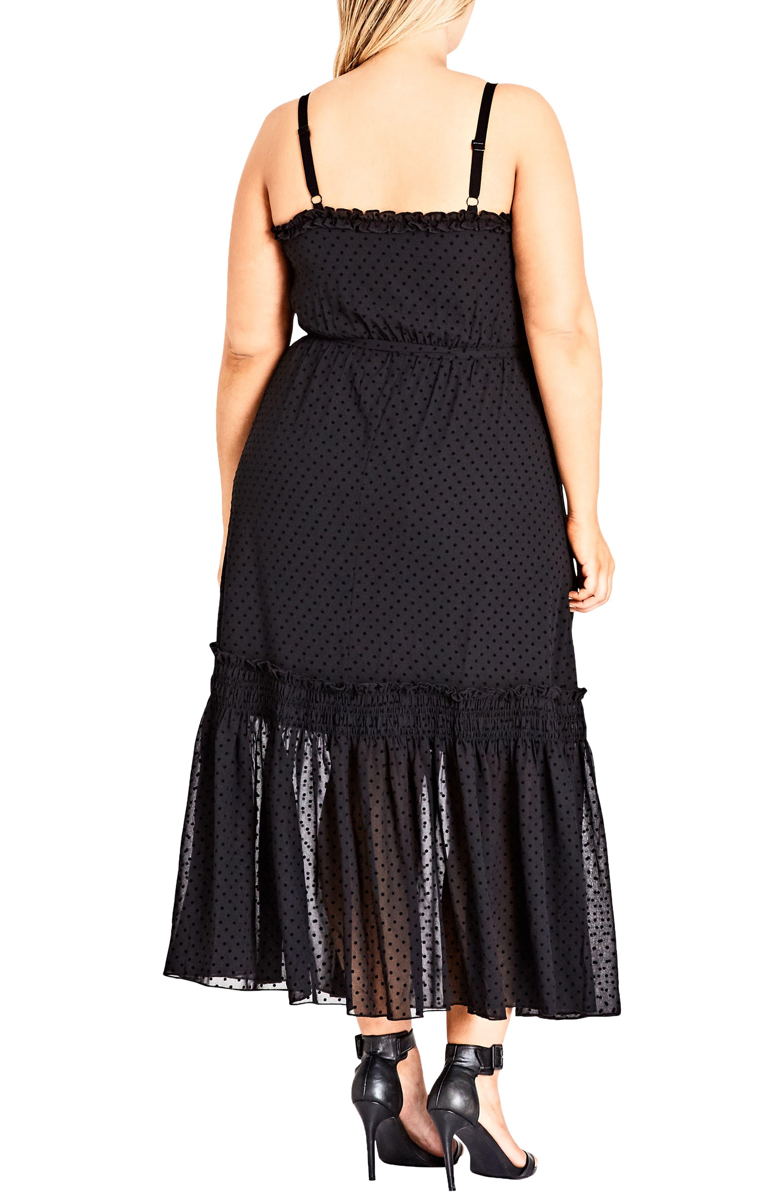 Flocked Spot Maxi Dress,                             Alternate thumbnail 2, color,                             Black Spot