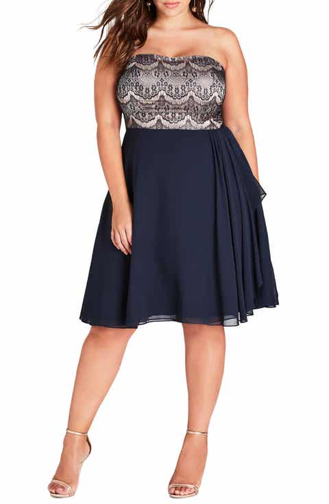 City Chic Eyelash Ebony Strapless Fit & Flare Dress (Plus Size)