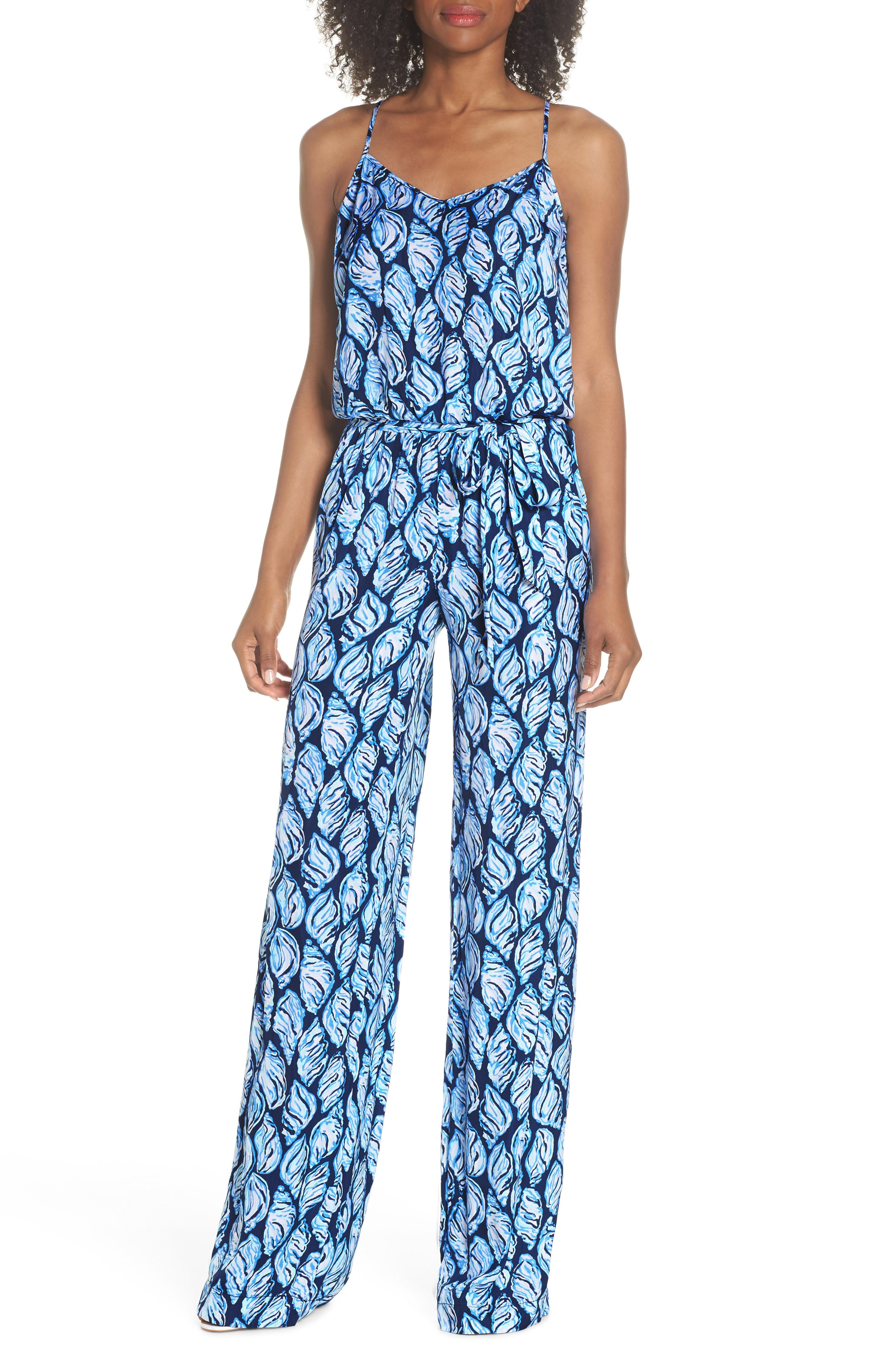 Lilly Pulizter<sup>®</sup> Dusk Sleeveless Jumpsuit,                             Main thumbnail 1, color,                             High Tide Drop In