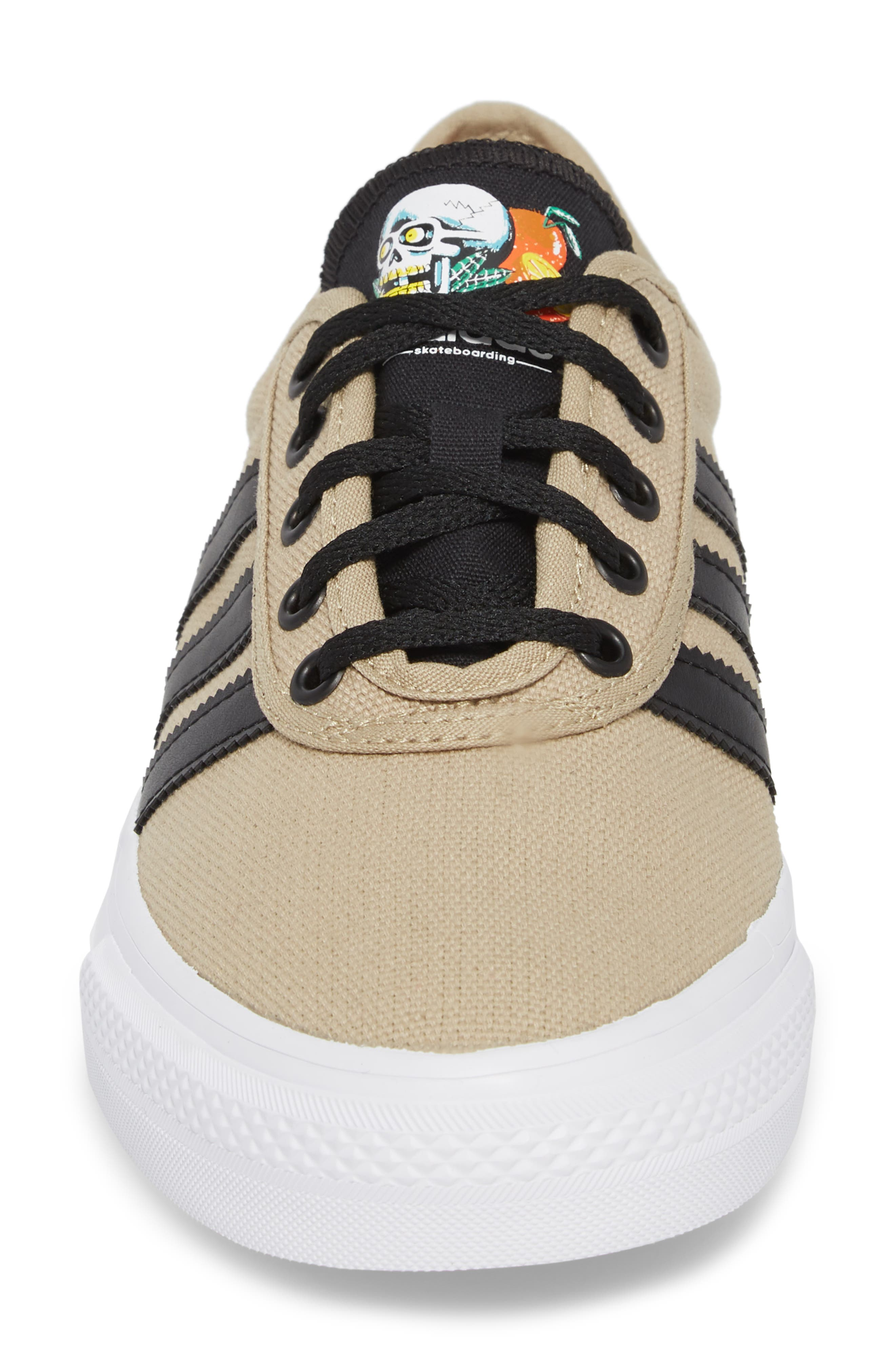 Adiease Premiere Skateboarding Sneaker,                             Alternate thumbnail 4, color,                             Gold/ Core Black/ White