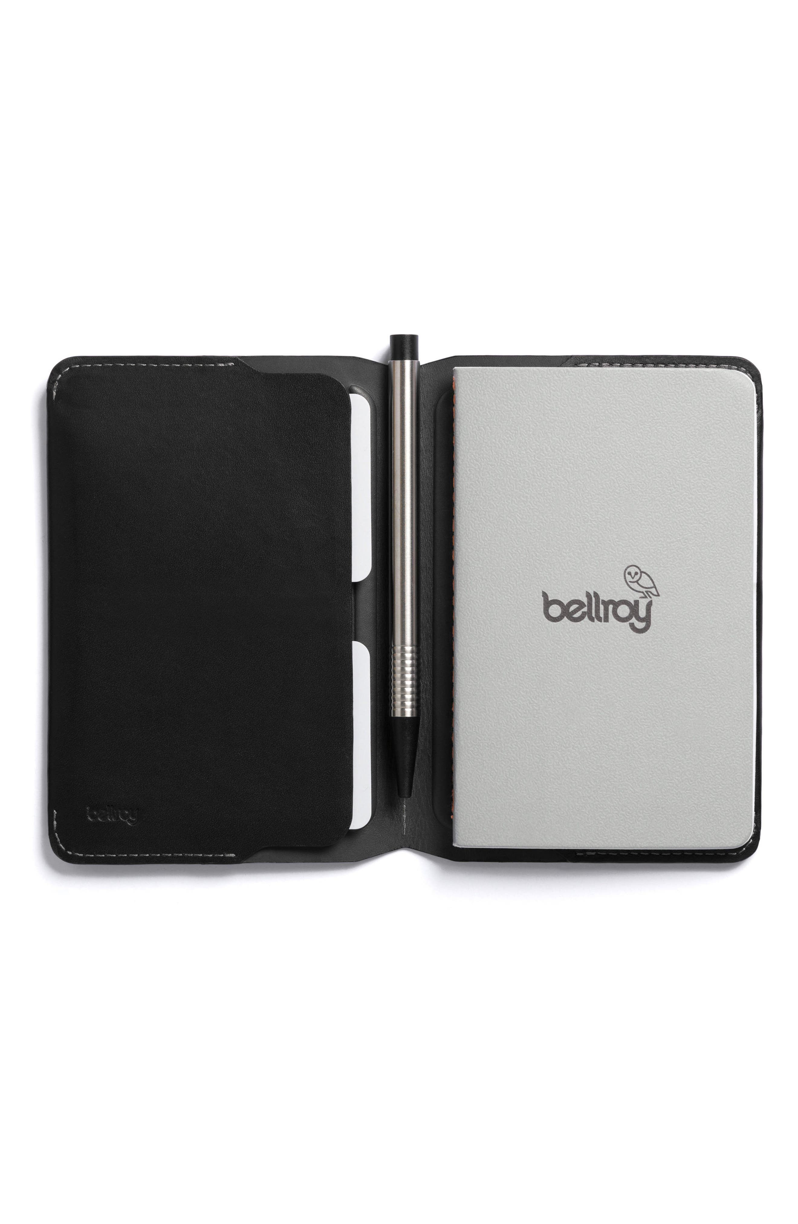 Mini Leather Notebook Cover,                             Main thumbnail 1, color,                             Black