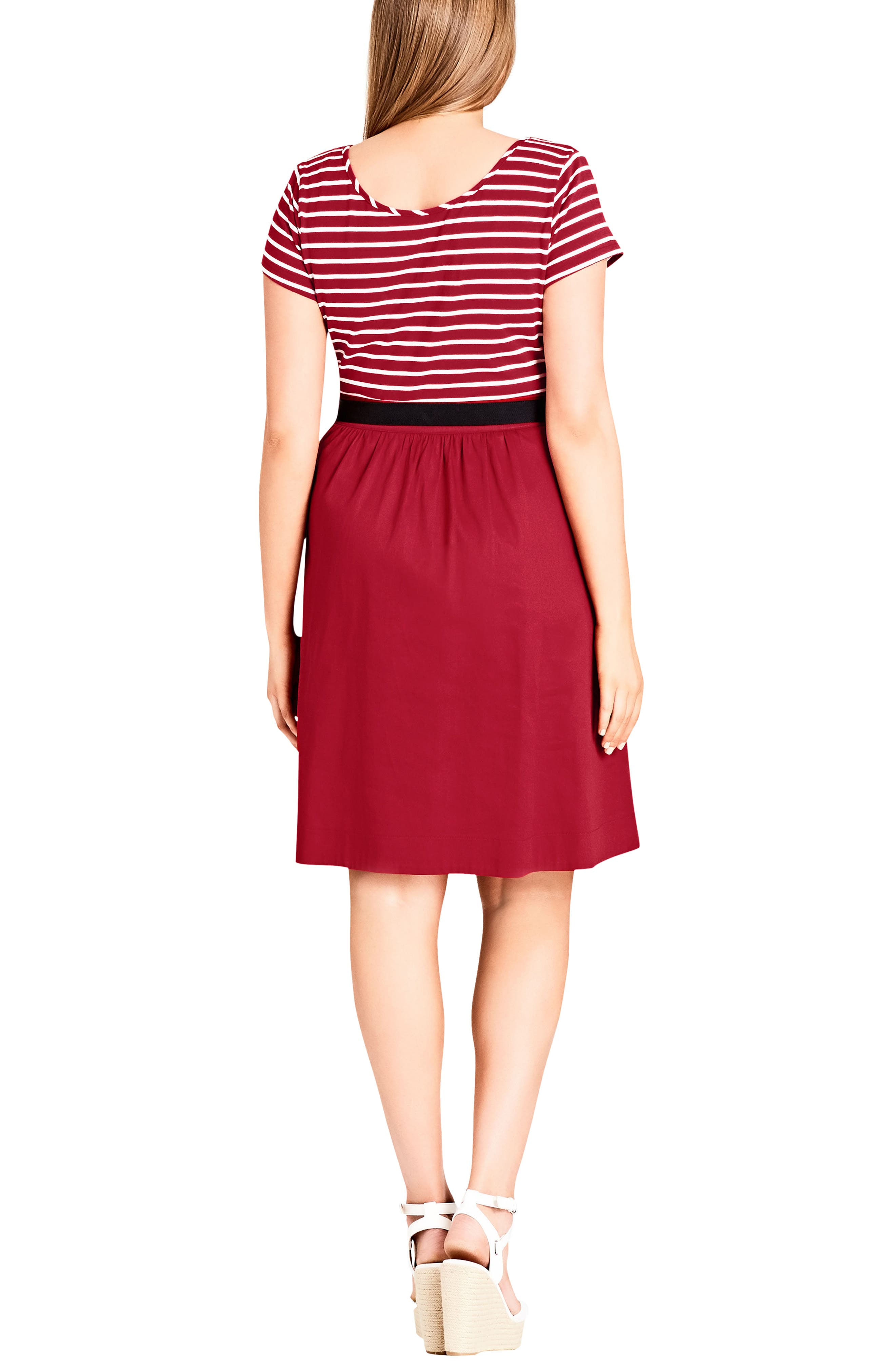 Tie Front Stripe Bodice Dress,                             Alternate thumbnail 2, color,                             Cherry
