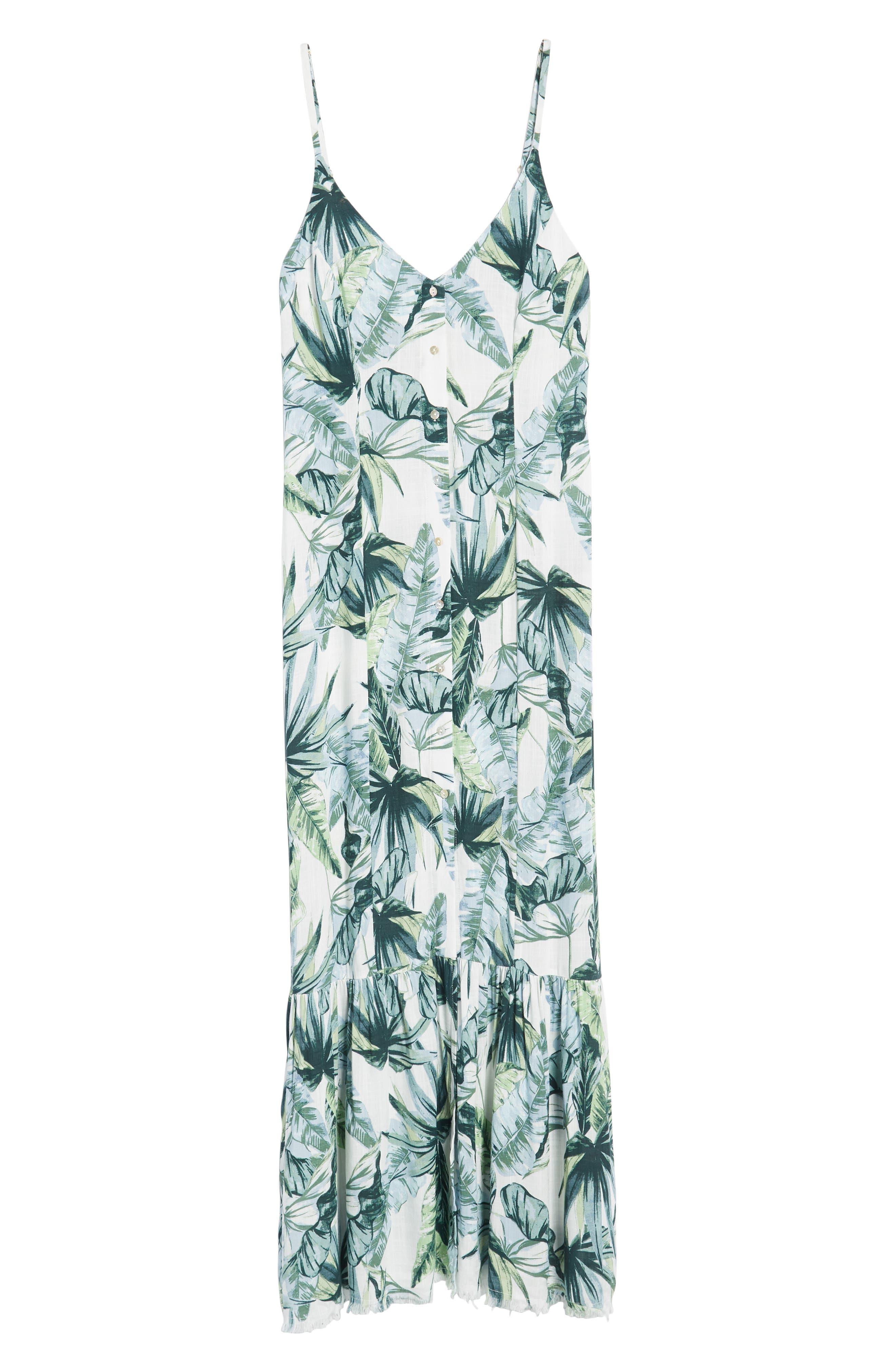 Palm Print Fringe Hem Maxi Dress,                             Alternate thumbnail 8, color,                             Multi