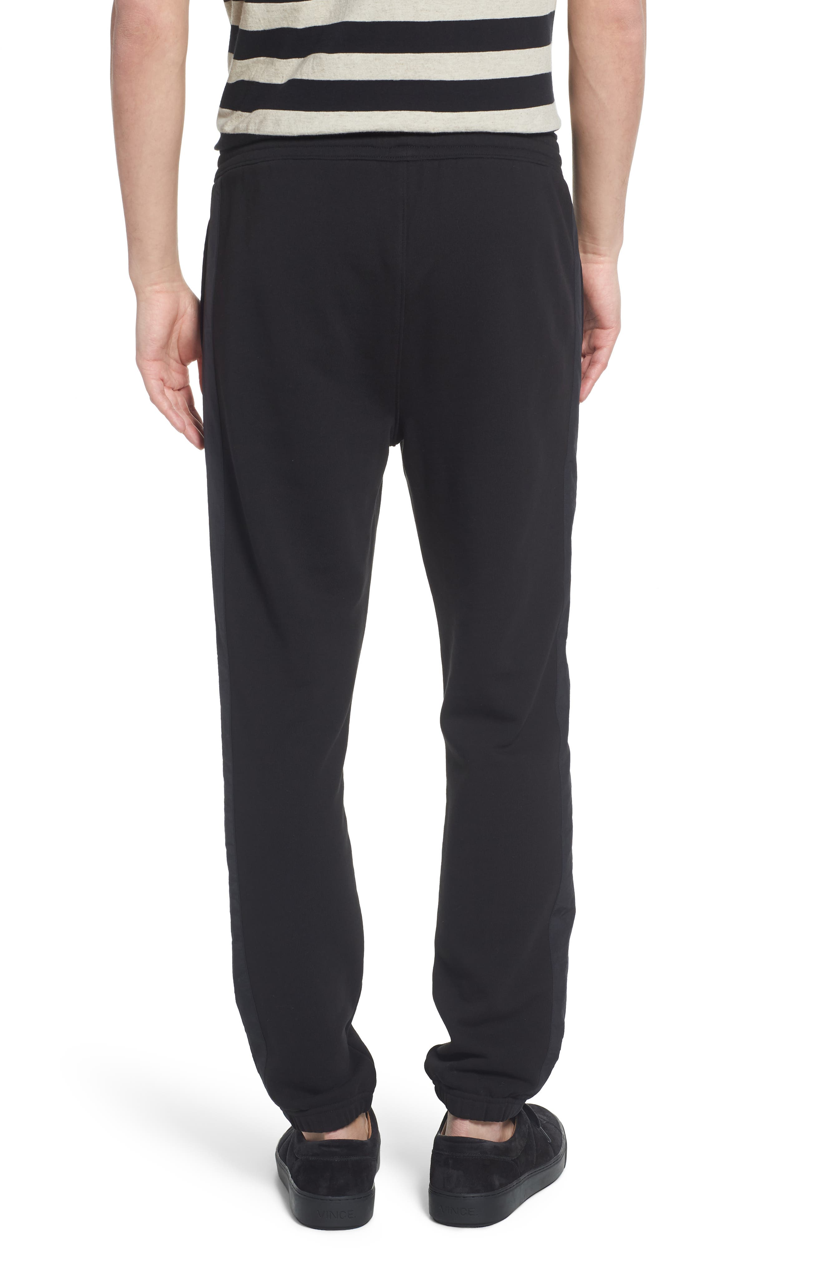 Mix Media Regular Fit Cotton Sweatpants,                             Alternate thumbnail 2, color,                             Black