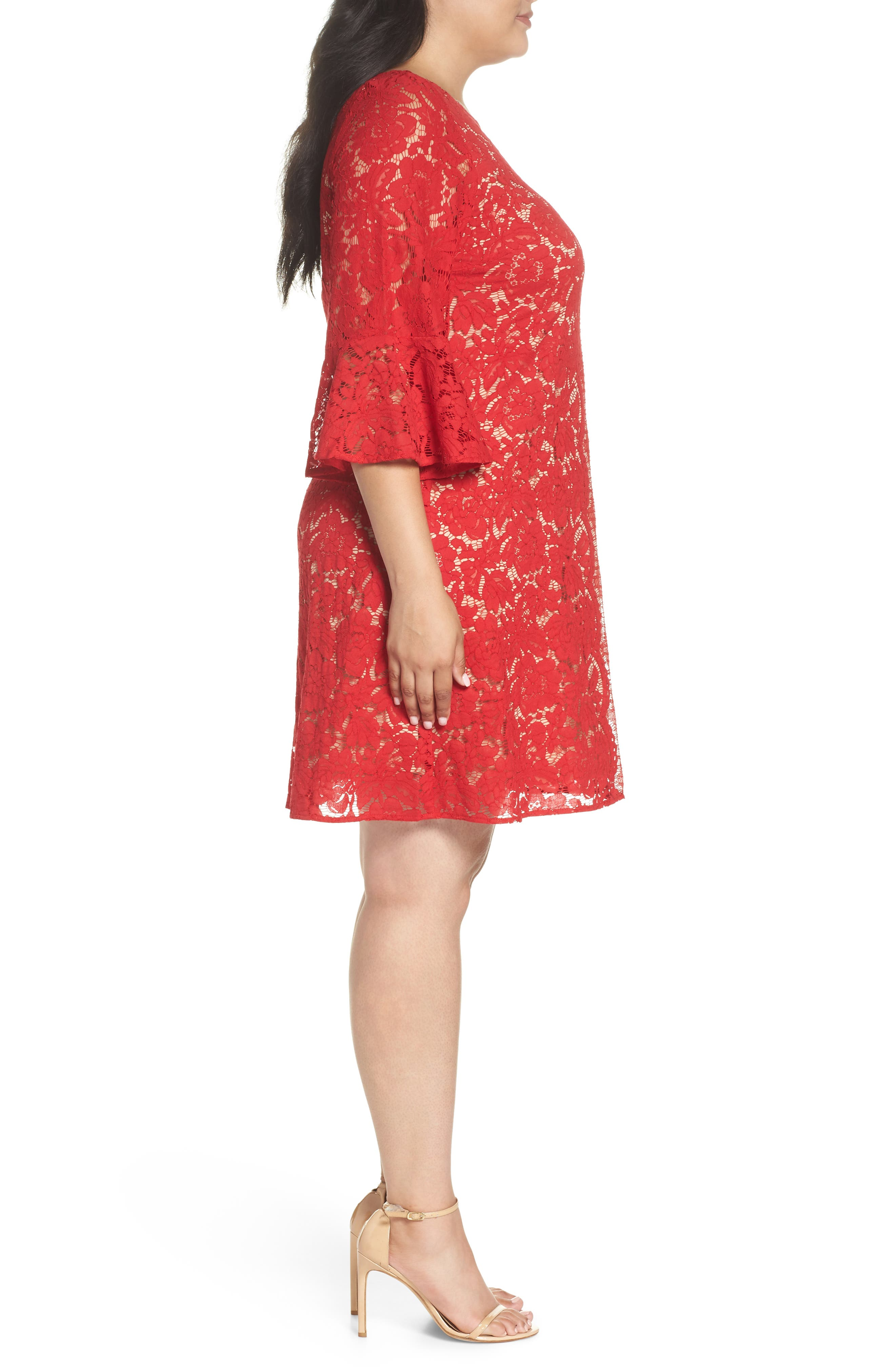 Bell Sleeve Lace Trapeze Dress,                             Alternate thumbnail 3, color,                             Red/ Cafe Mocha