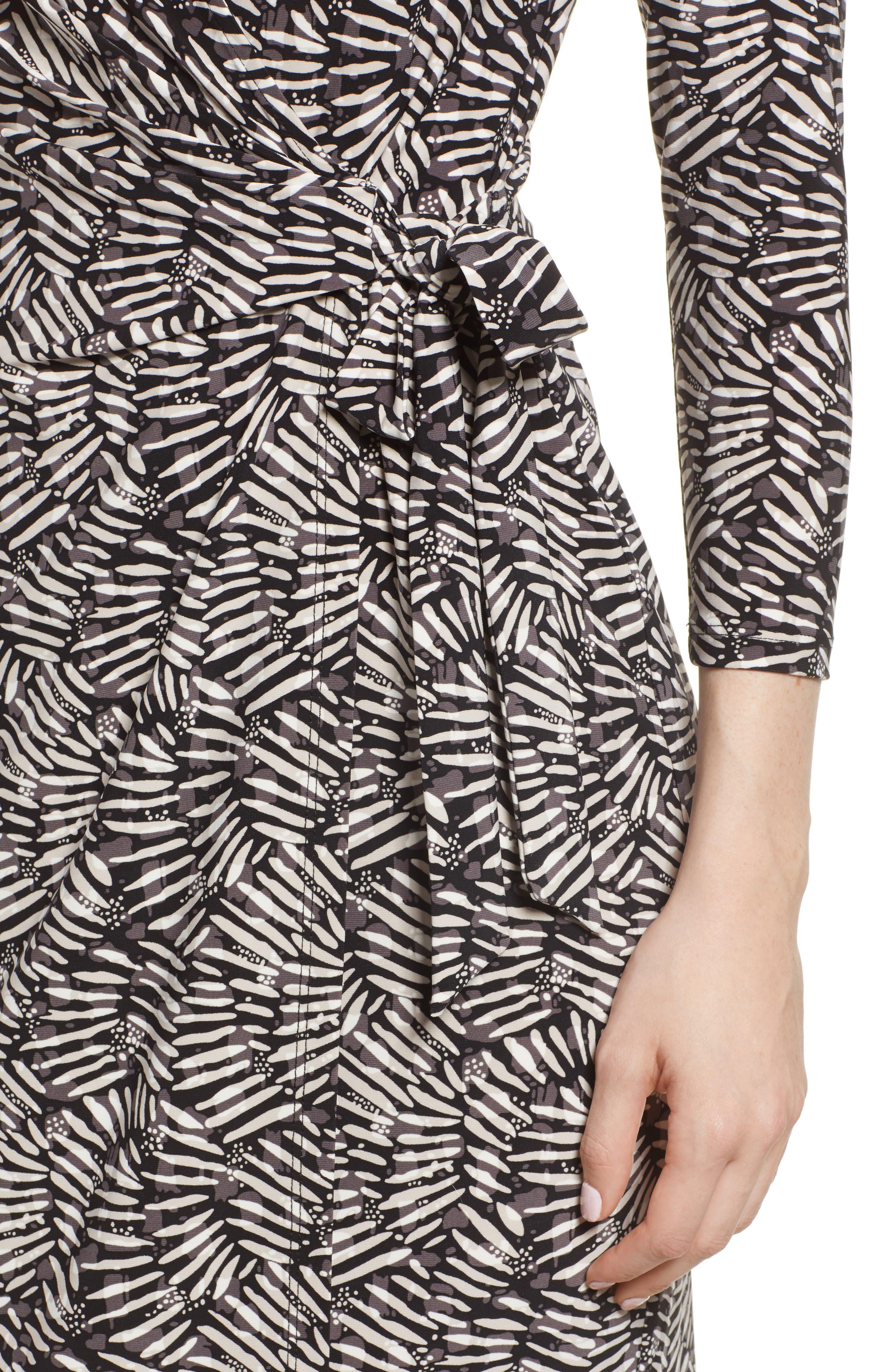 Cedarwood Stretch Crepe Faux Wrap Dress,                             Alternate thumbnail 4, color,                             Black/ Oyster Shell Combo