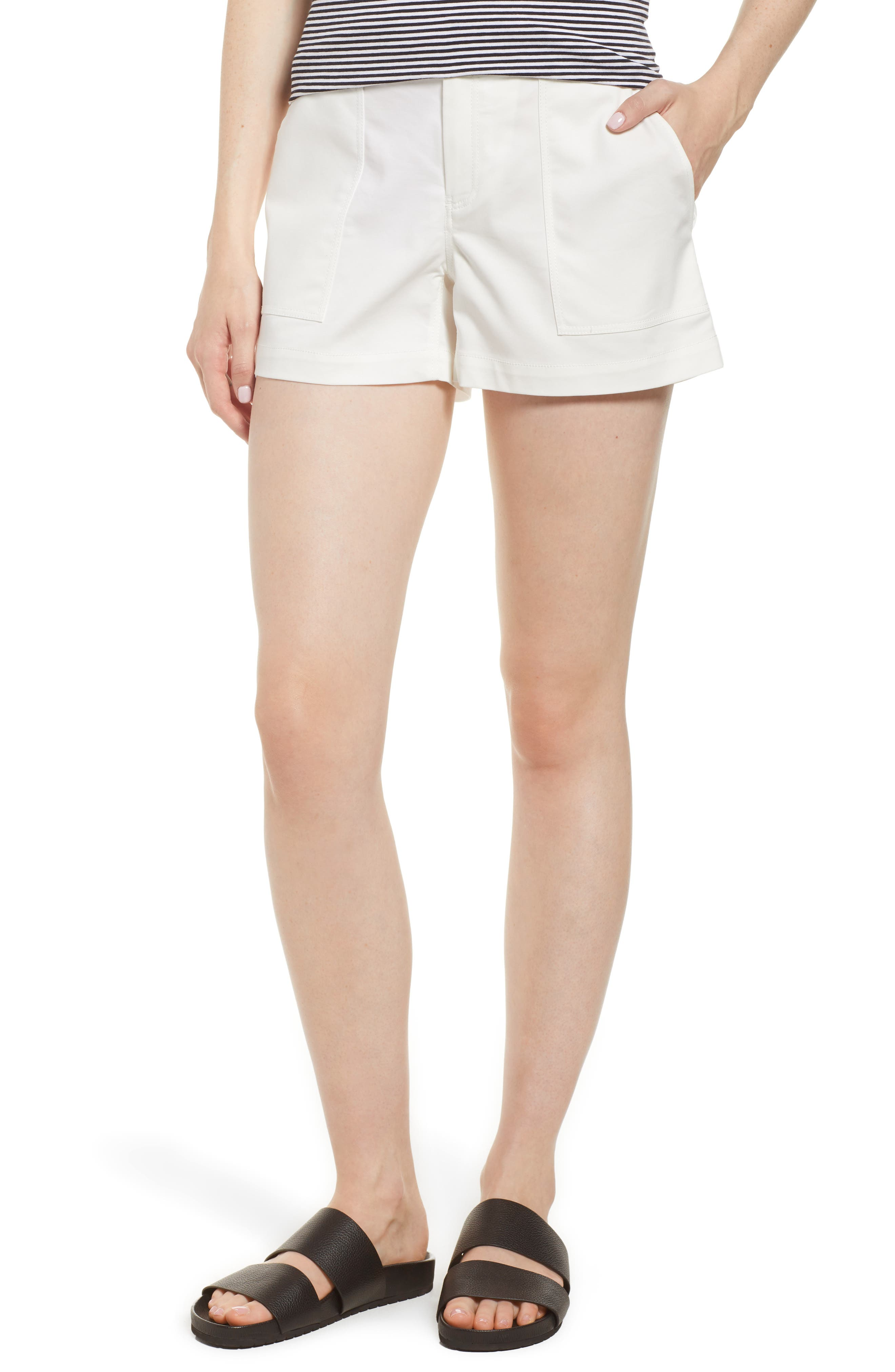 Patch Pocket Shorts,                         Main,                         color, White