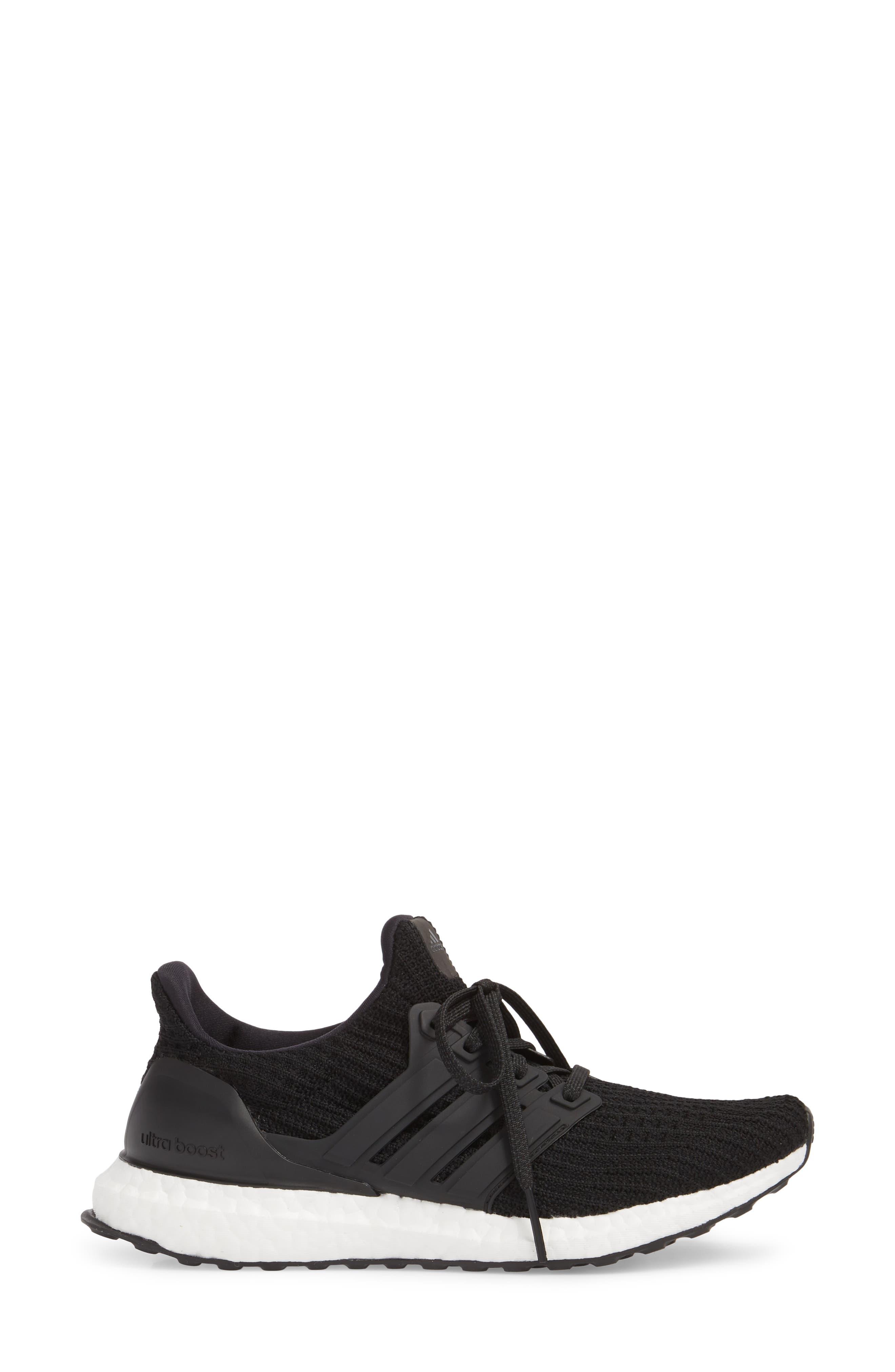 'UltraBoost' Running Shoe,                             Alternate thumbnail 3, color,                             Core Black/ Core Black