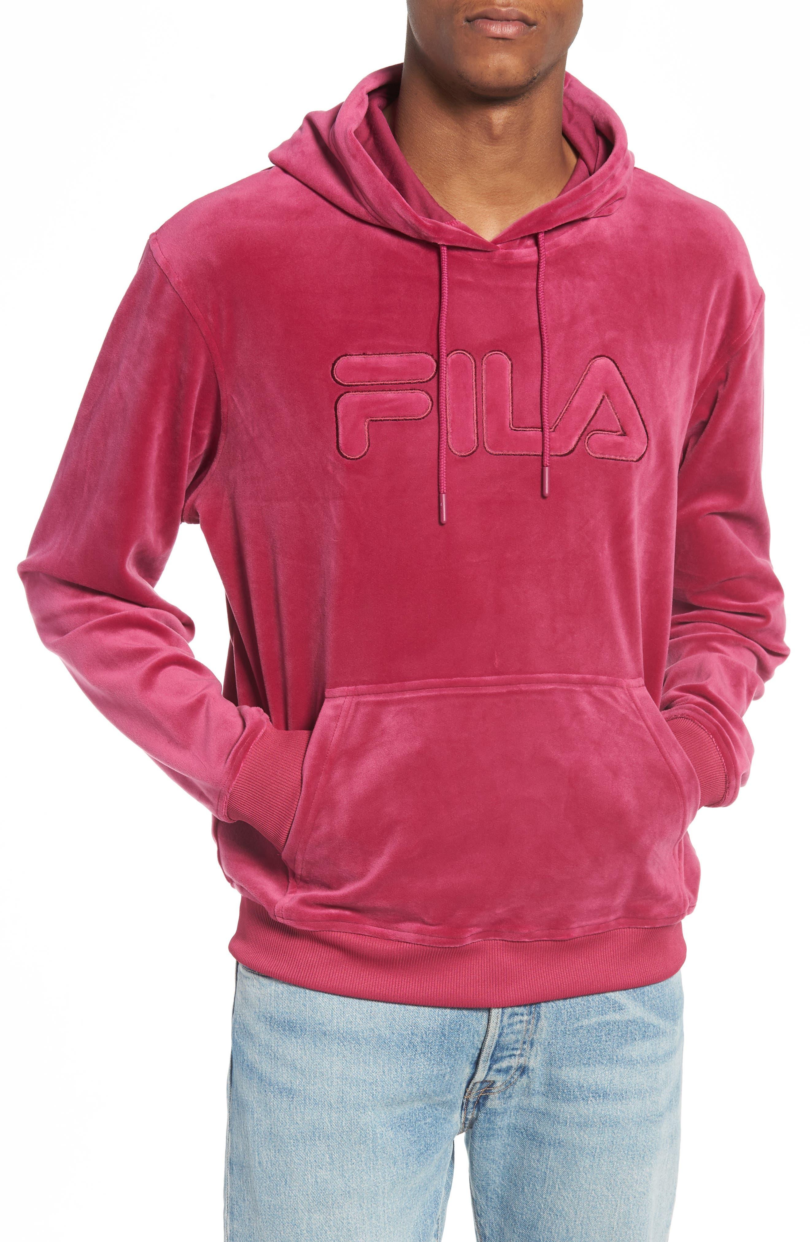 Asher Velour Hoodie Sweatshirt,                             Main thumbnail 1, color,                             Rasberry Radiance