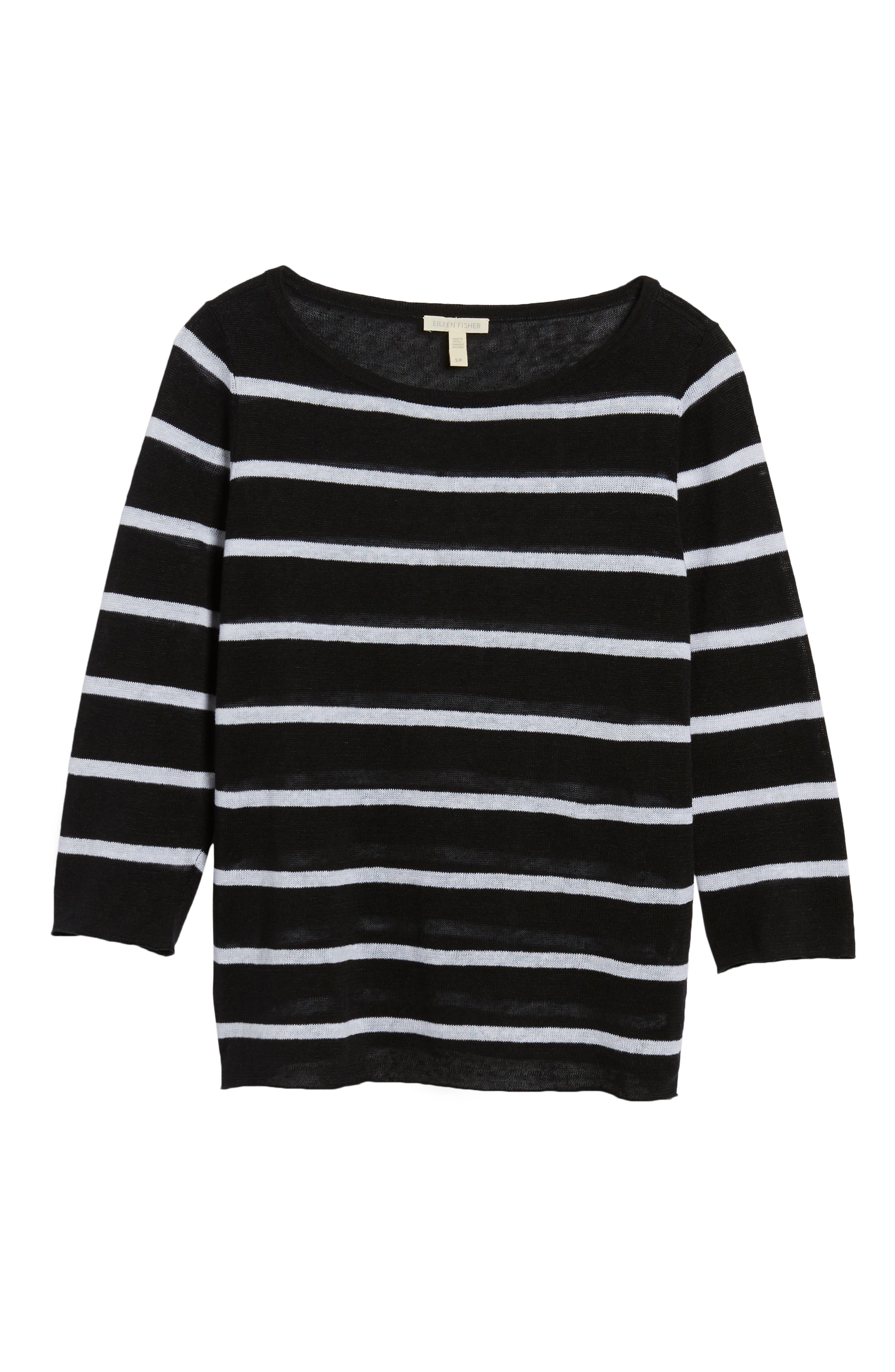 Stripe Organic Linen Sweater,                             Alternate thumbnail 6, color,                             Black/ White