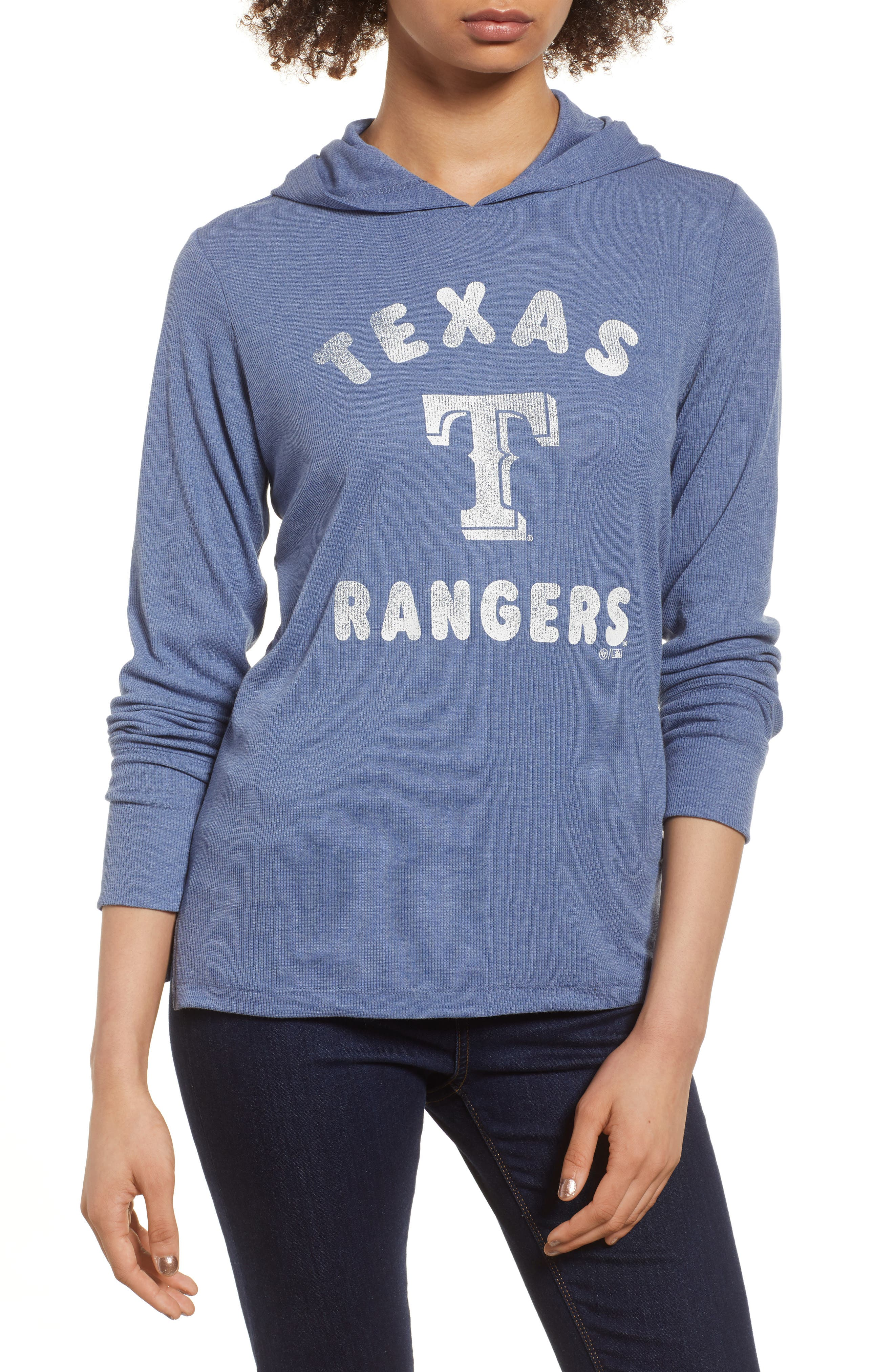 Campbell Texas Rangers Rib Knit Hooded Top,                         Main,                         color, Bleacher Blue