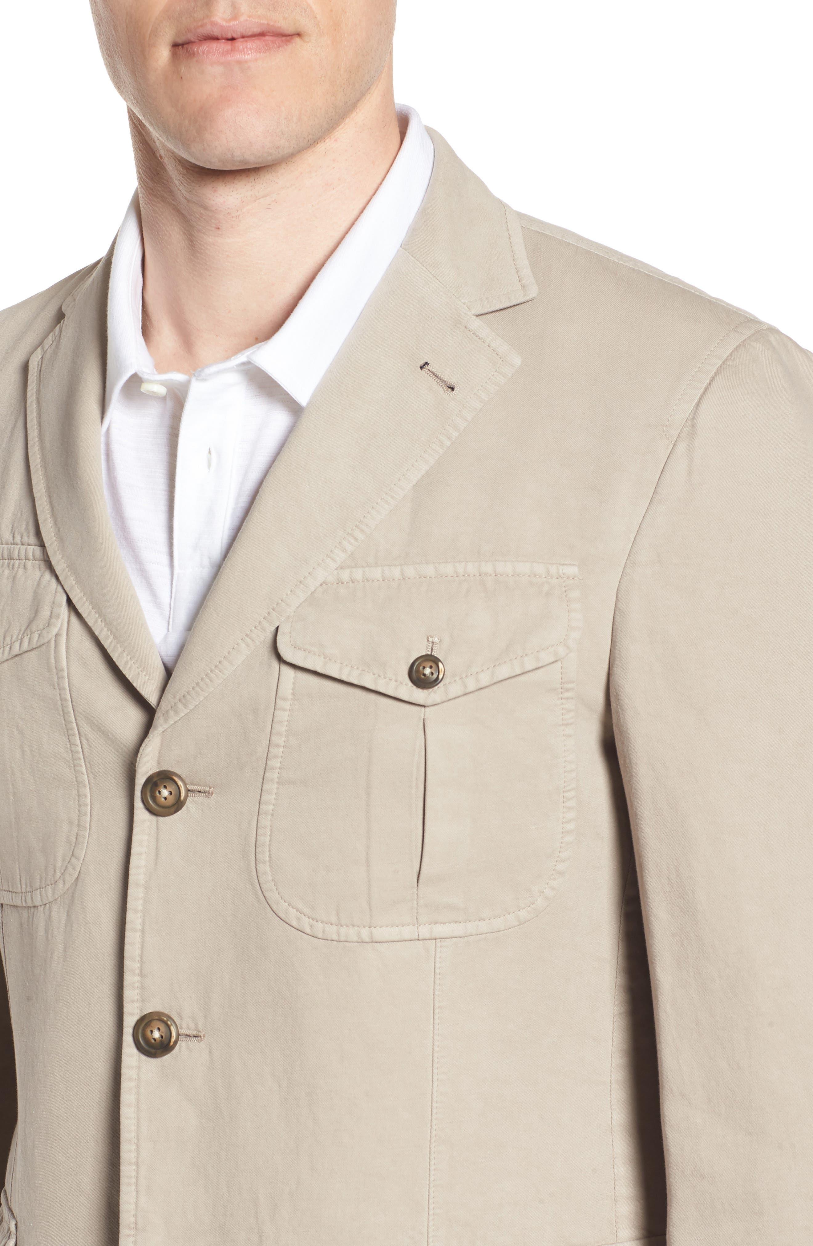 Cotton & Linen Safari Blazer,                             Alternate thumbnail 4, color,                             Sand