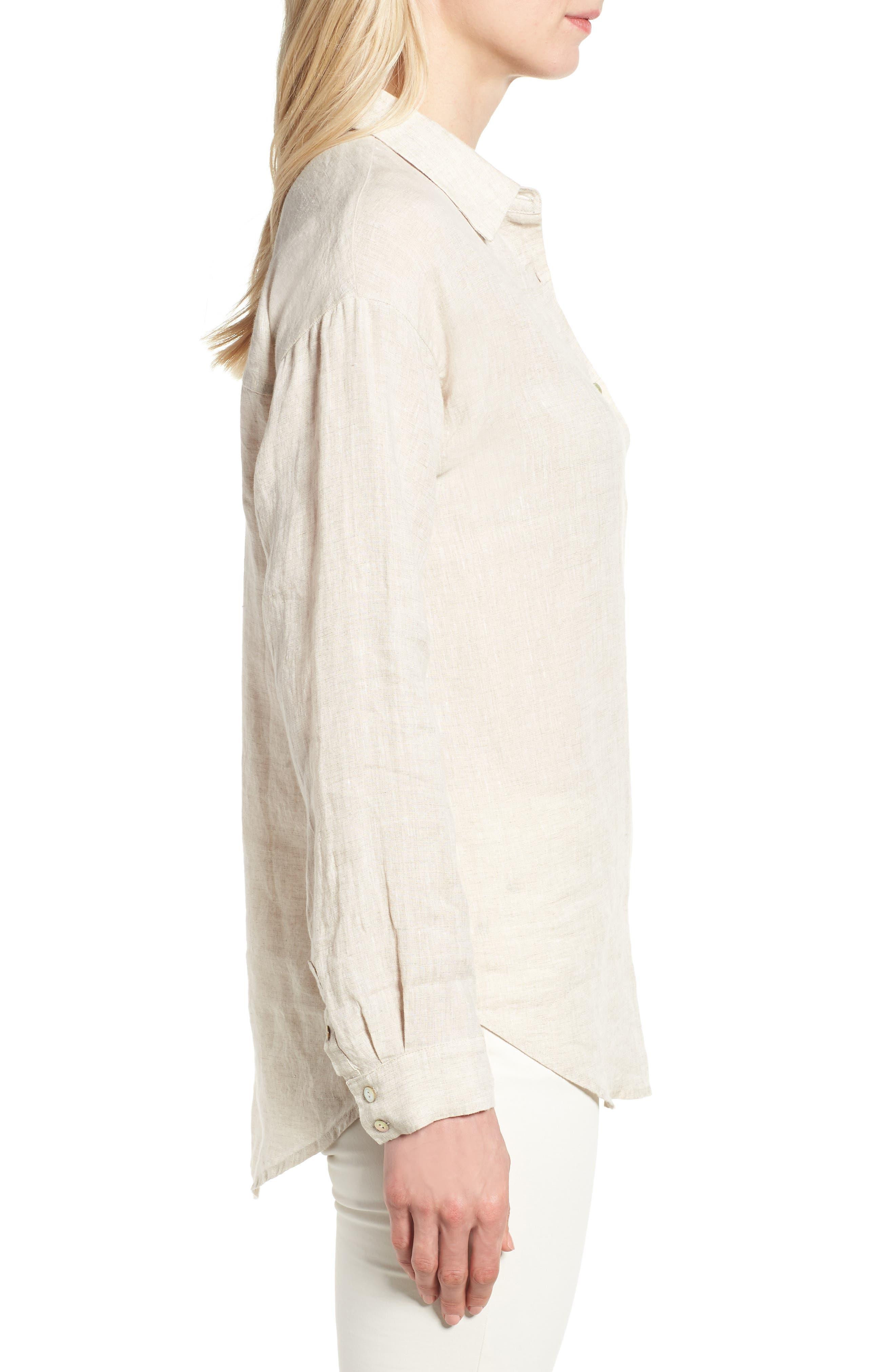 Organic Linen Shirt,                             Alternate thumbnail 3, color,                             Natural