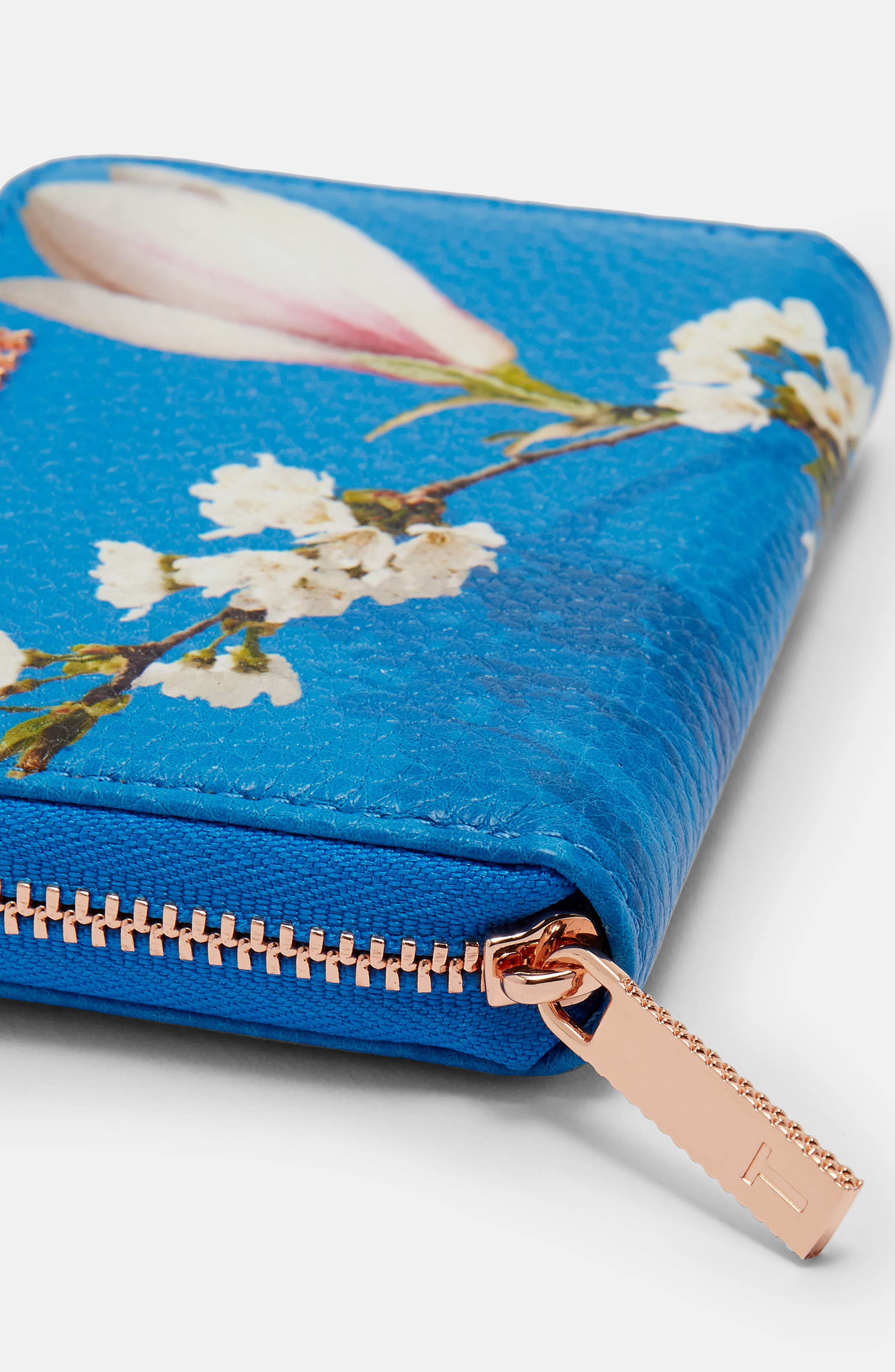 Corri Harmony Print Leather Zip Coin Purse,                             Alternate thumbnail 4, color,                             Bright Blue