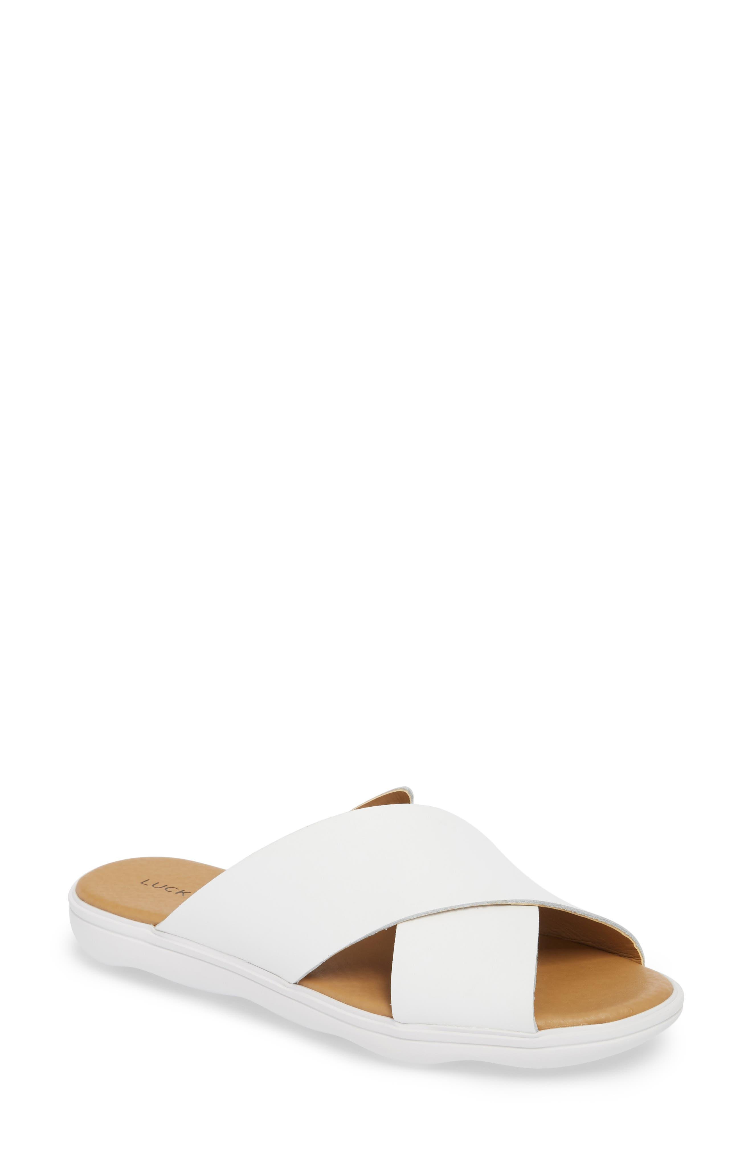Mahlay Slide Sandal,                             Main thumbnail 1, color,                             Optic White Leather