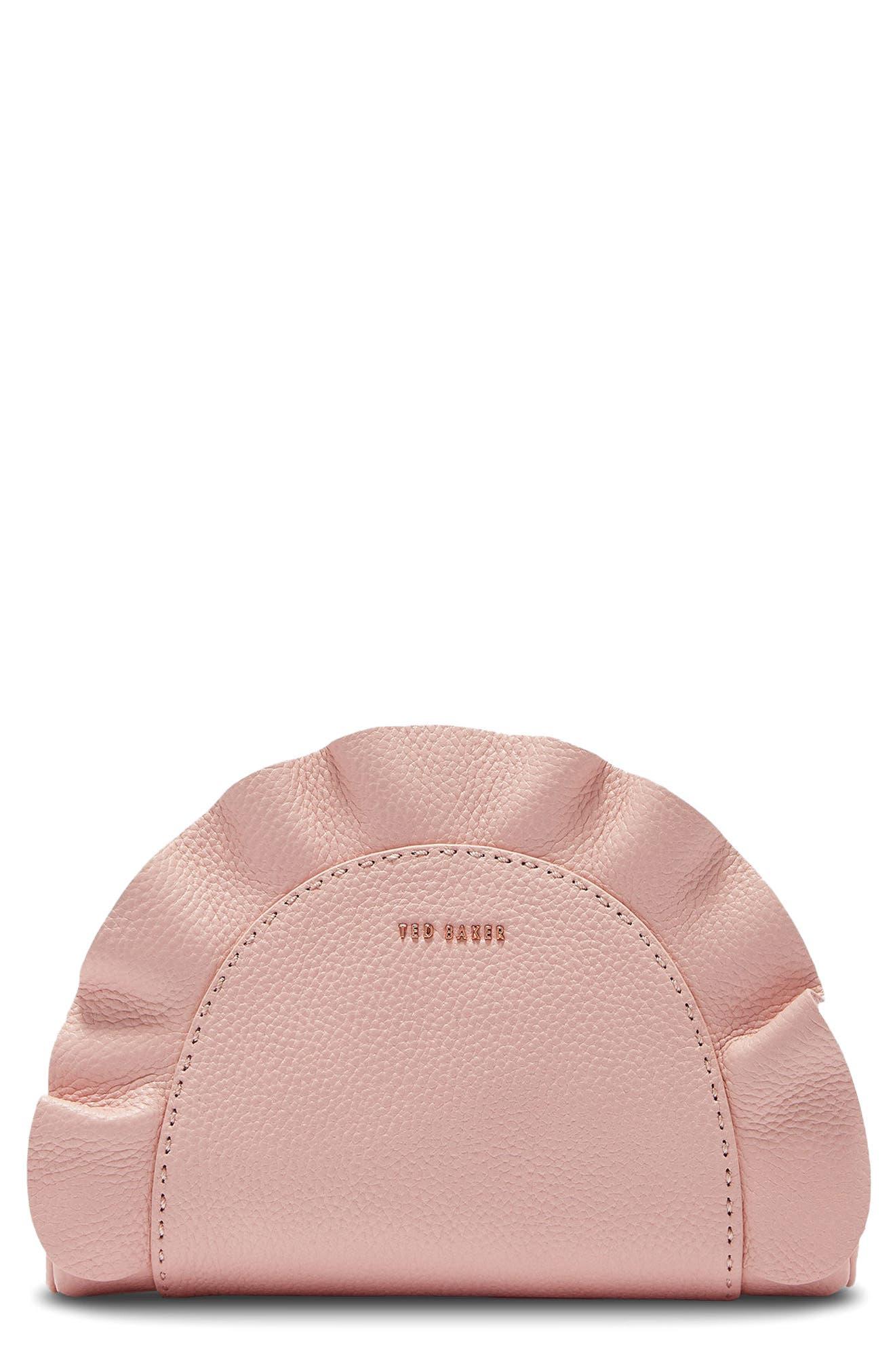 Ruffle Half Moon Leather Crossbody Bag,                             Main thumbnail 1, color,                             Light Pink