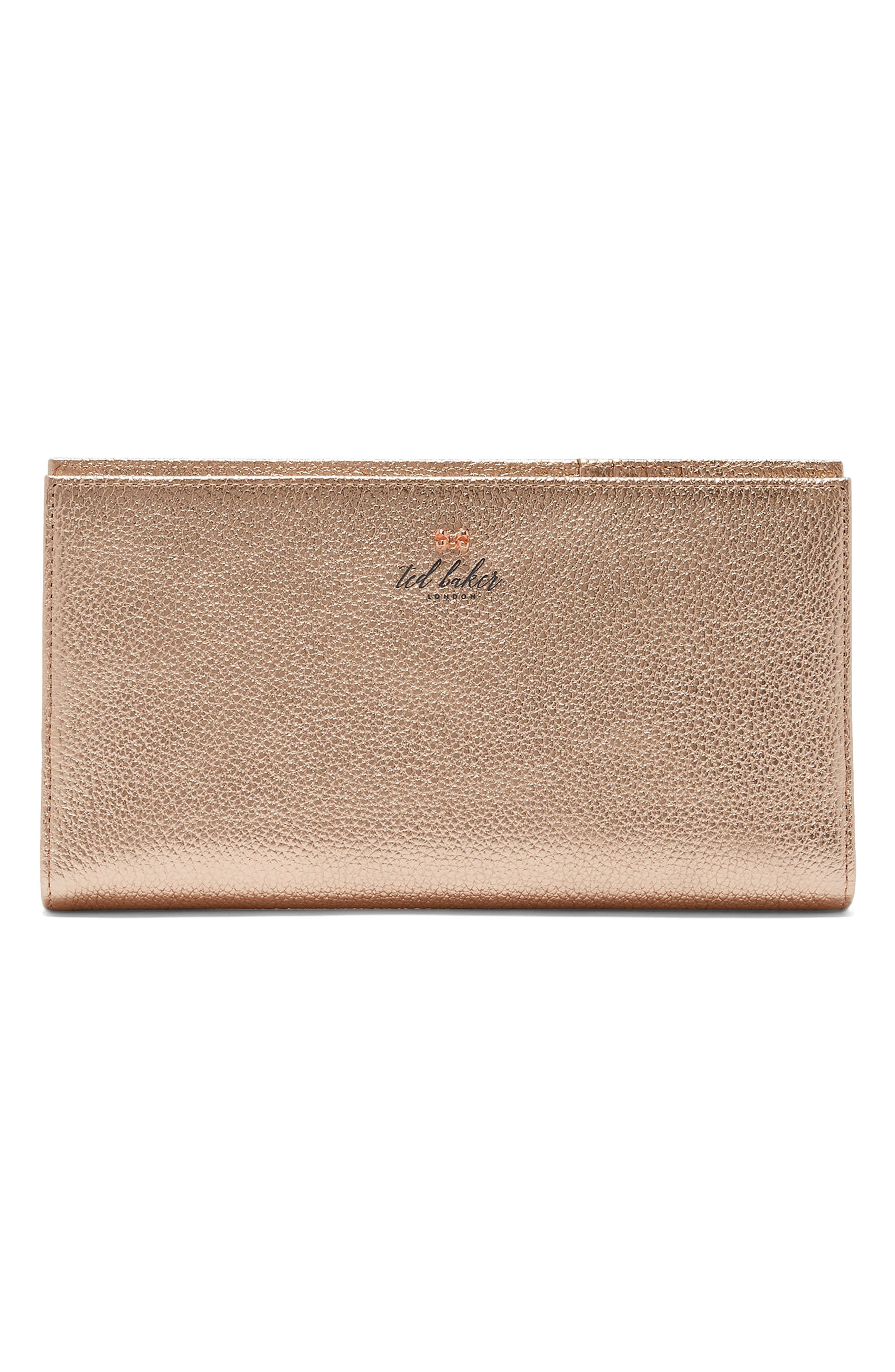 Kayy Metallic Leather Travel Wallet,                             Main thumbnail 1, color,                             Rose Gold