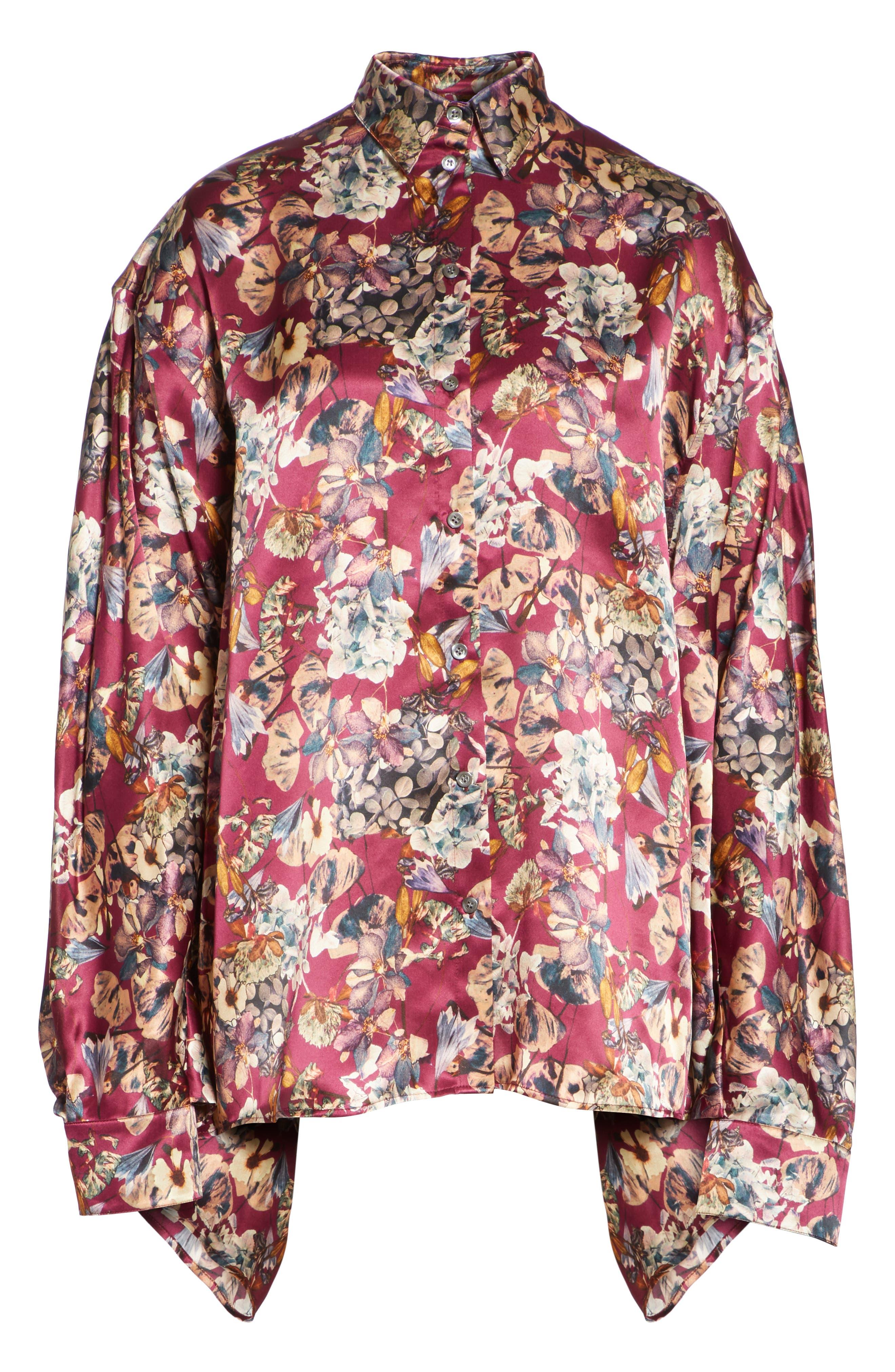 Floral Silk Blouse,                             Alternate thumbnail 7, color,                             Purple1