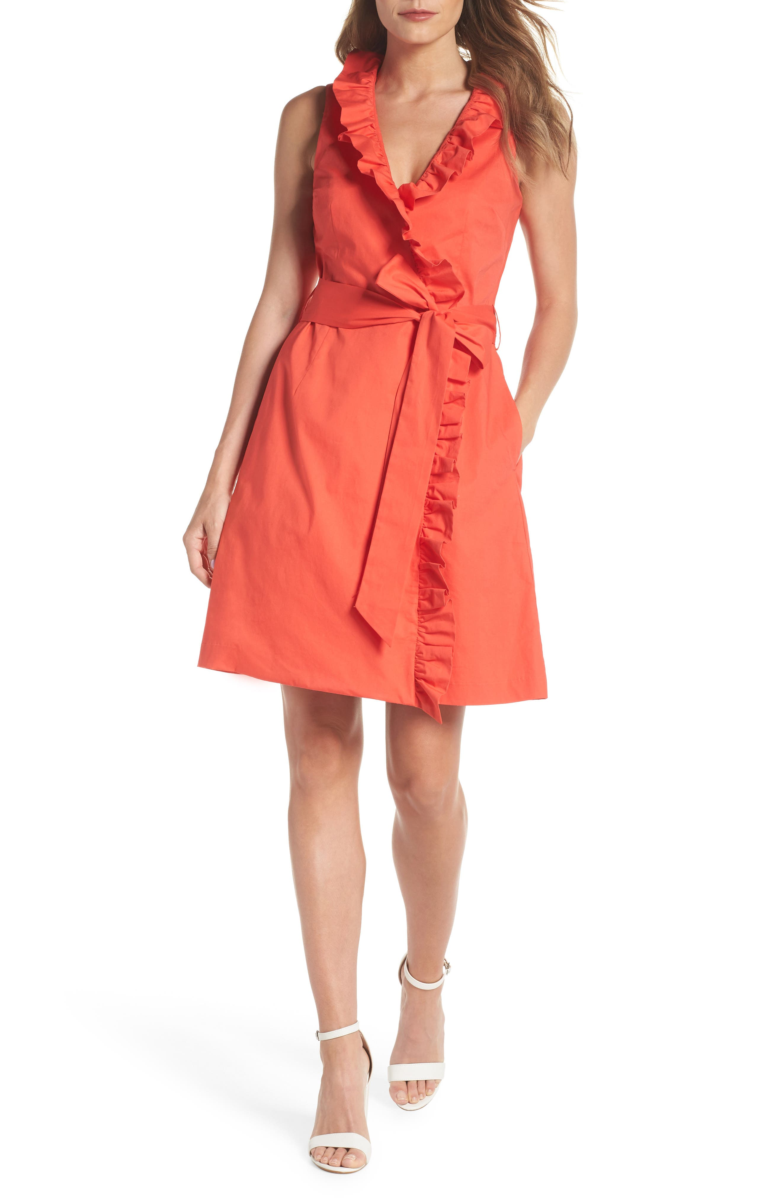 Ruffle Trim Poplin Wrap Dress,                             Main thumbnail 1, color,                             Coral