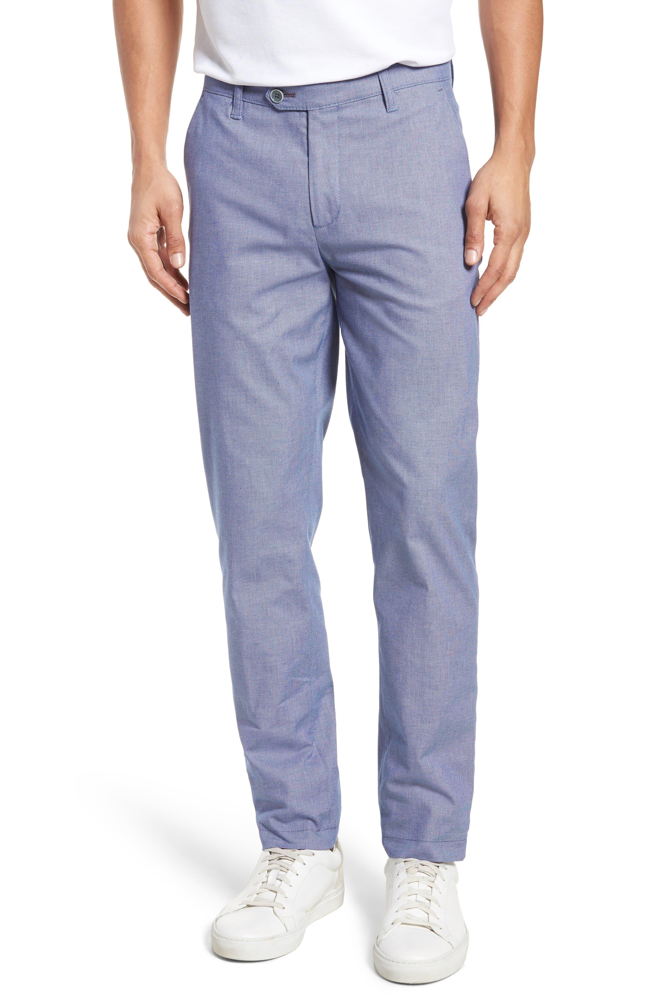 Holldet Flat Front Stretch Solid Cotton Pants,                         Main,                         color, Light Blue