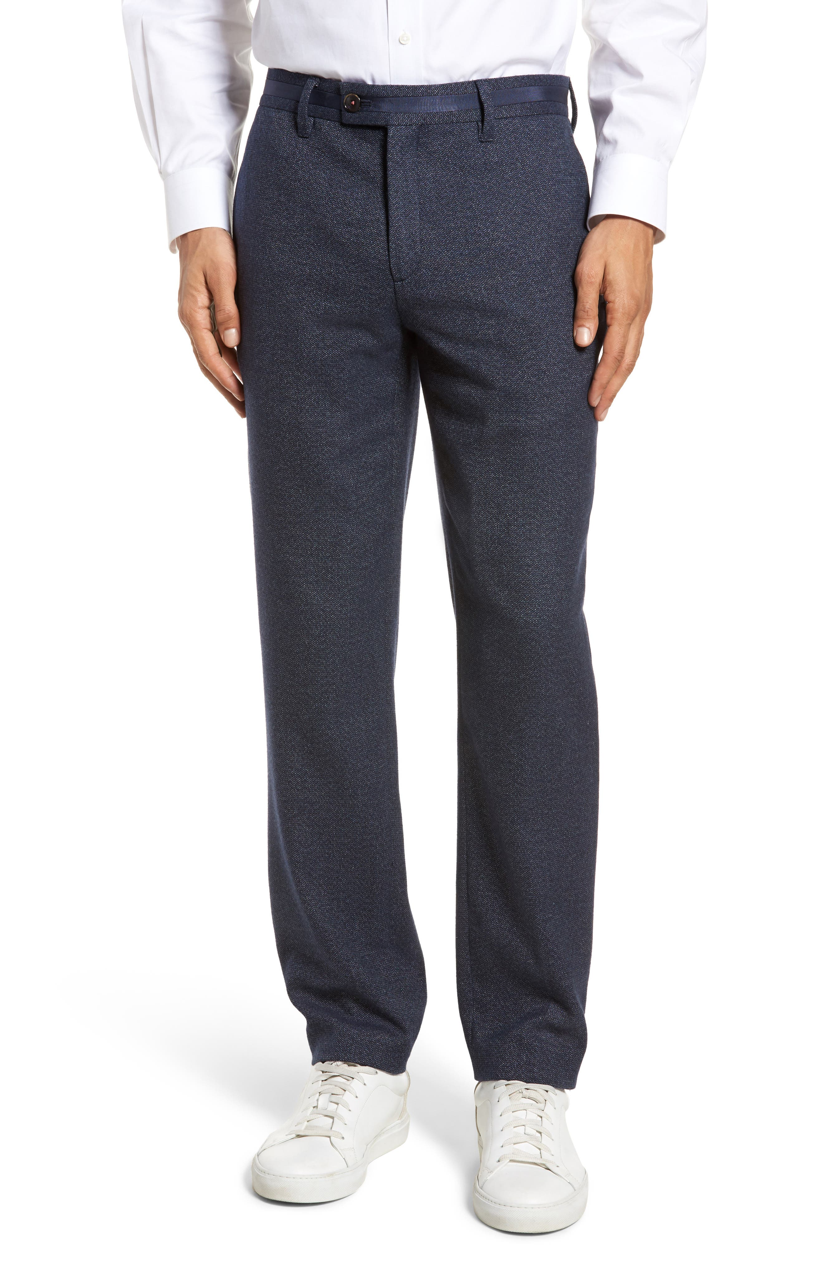 Clifrot Flat Front Stretch Solid Cotton Pants,                         Main,                         color, Navy