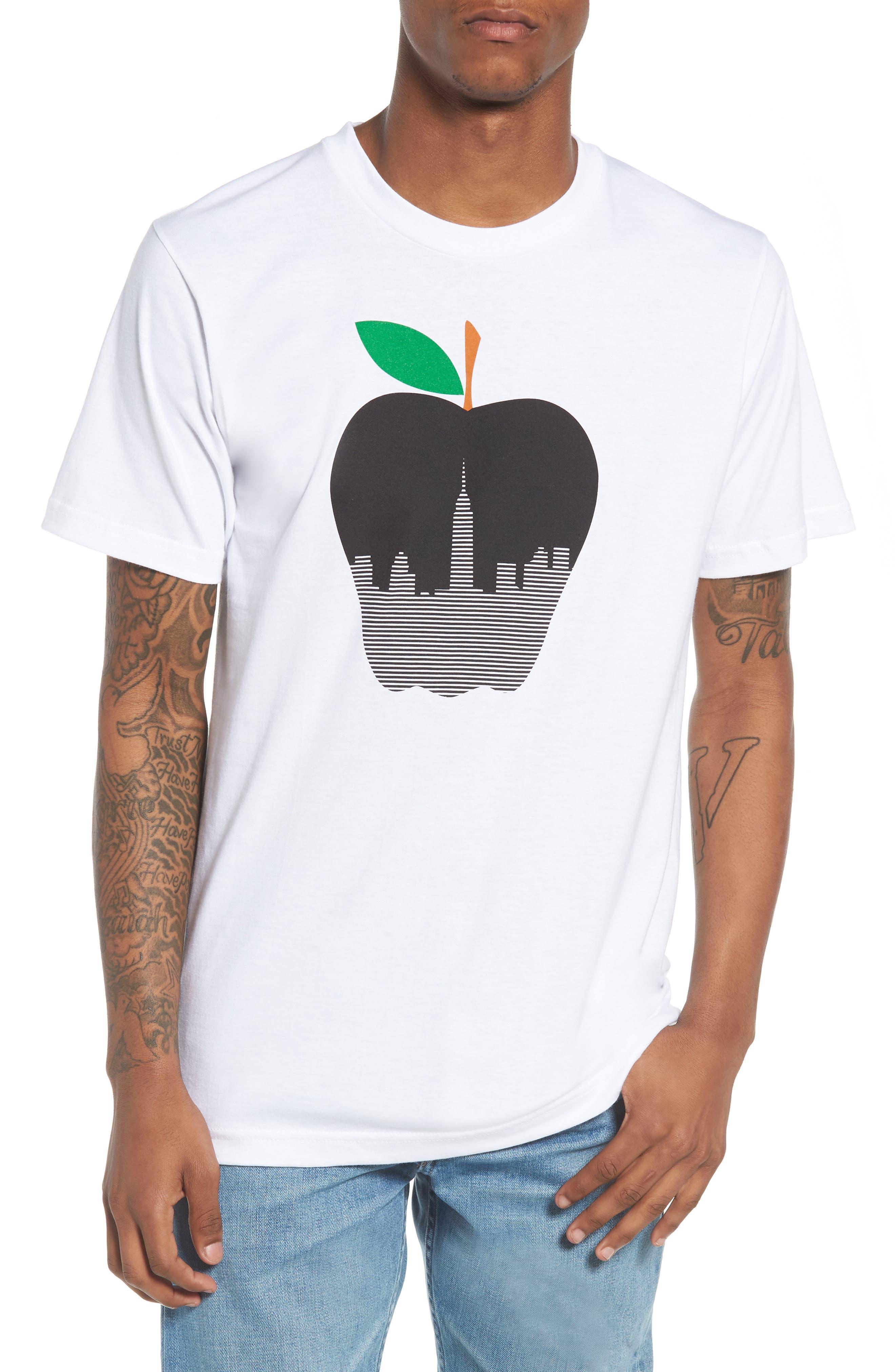 NY Apple Graphic T-Shirt,                             Main thumbnail 1, color,                             White