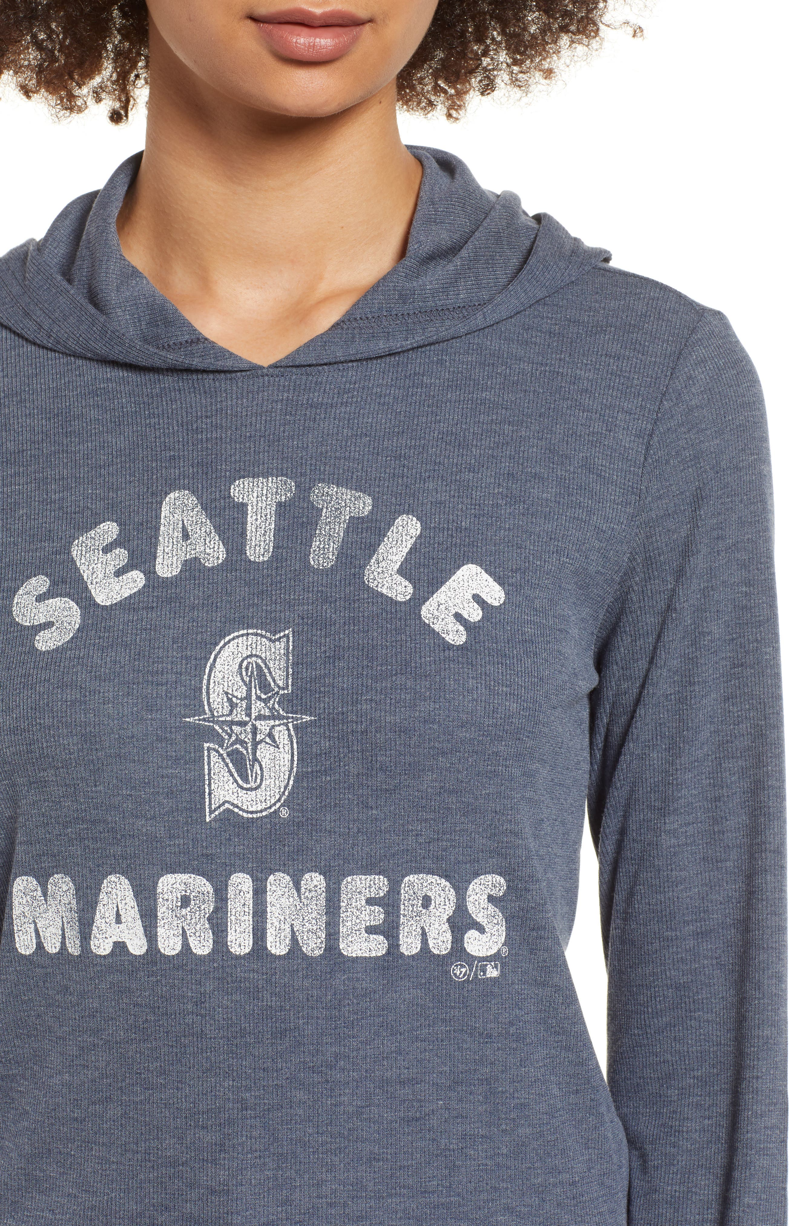 Campbell Seattle Mariners Rib Knit Hooded Top,                             Alternate thumbnail 4, color,                             Midnight