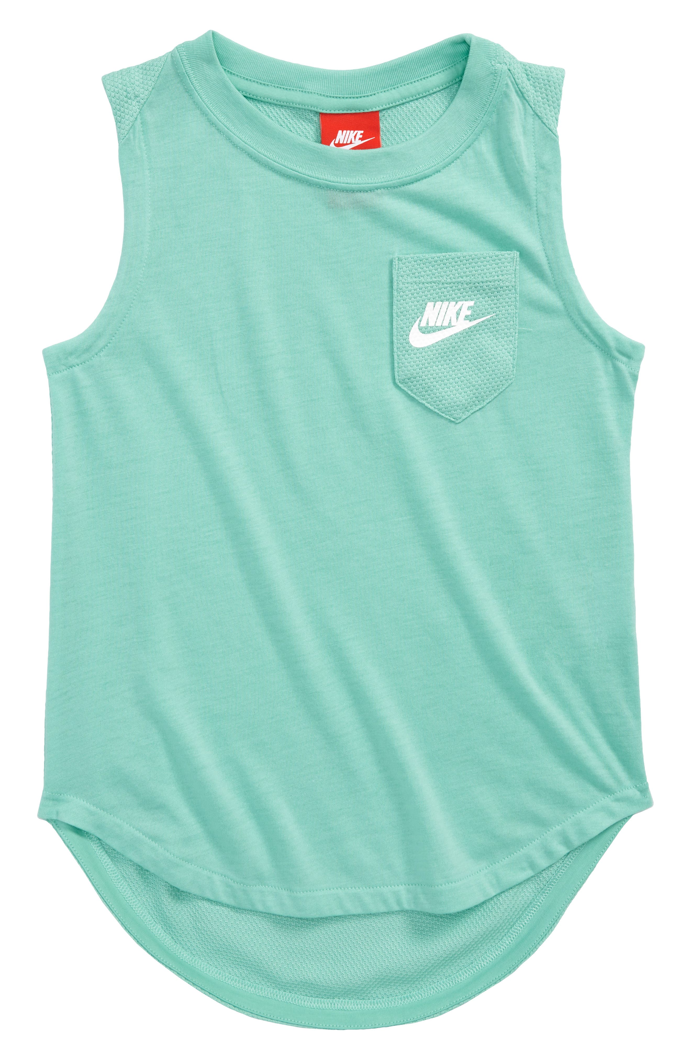 Mesh Back Muscle Tank,                         Main,                         color, Emerald Rise/ White
