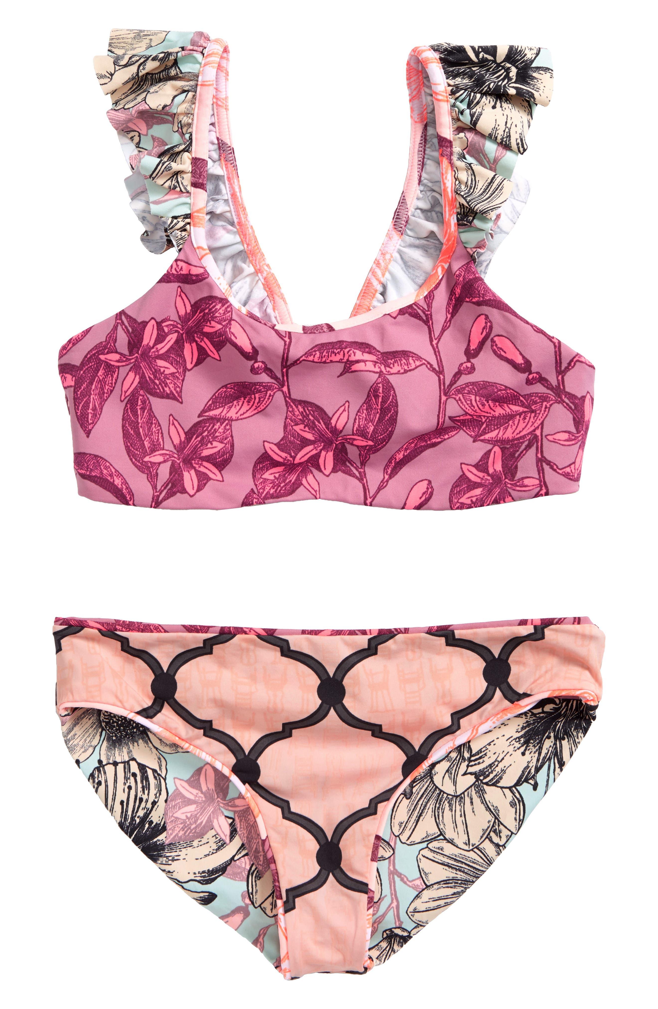 Stars Rain Two-Piece Reversible Swimsuit,                             Alternate thumbnail 2, color,                             Pink