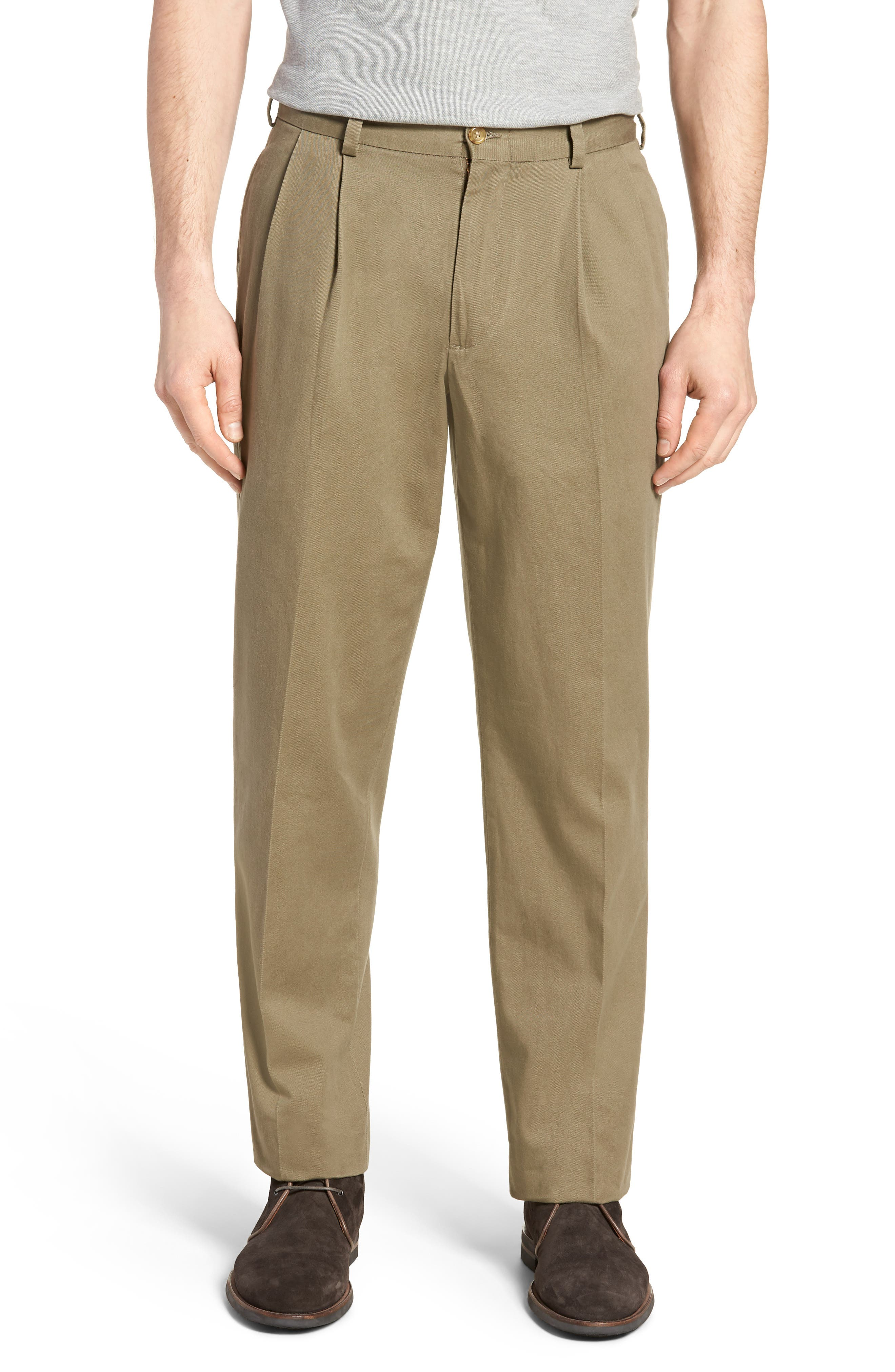 M2 Classic Fit Vintage Twill Pleated Pants,                         Main,                         color, Olive