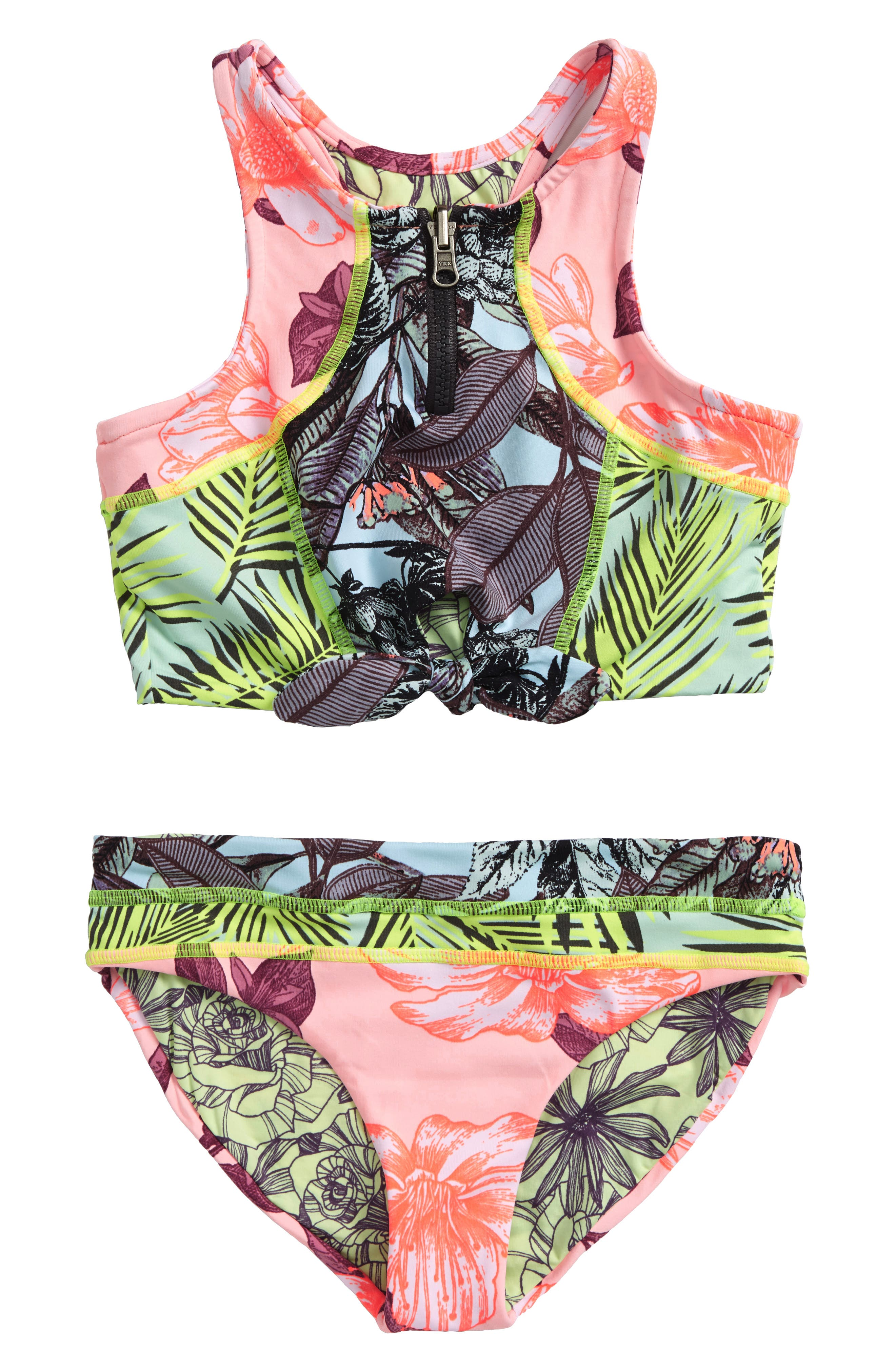 Cacti Hotel Reversible Two-Piece Swimsuit,                         Main,                         color, Pink